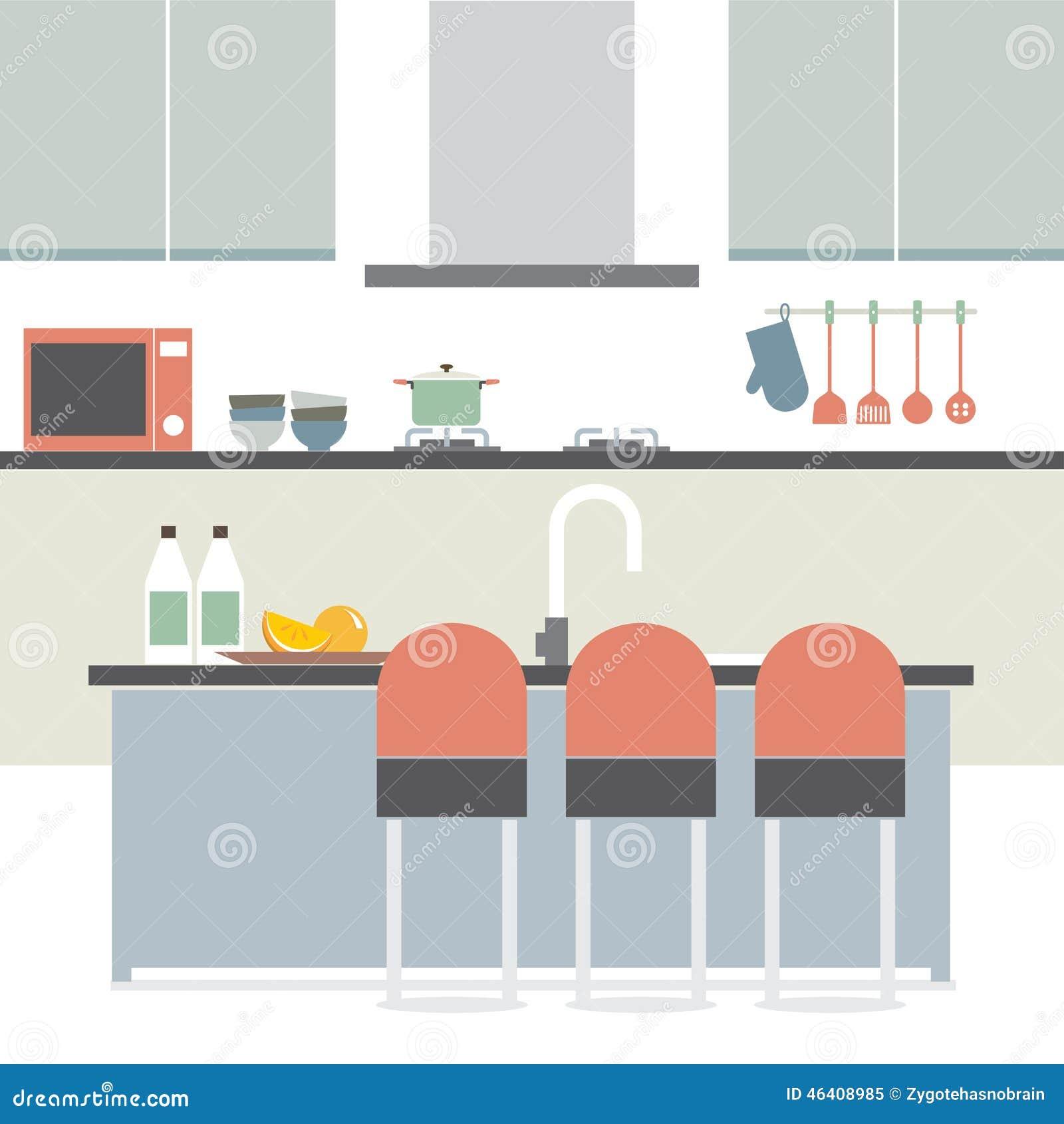 Modern Flat Design Kitchen Interior Stock Vector Illustration Of Room Illustration 46408985