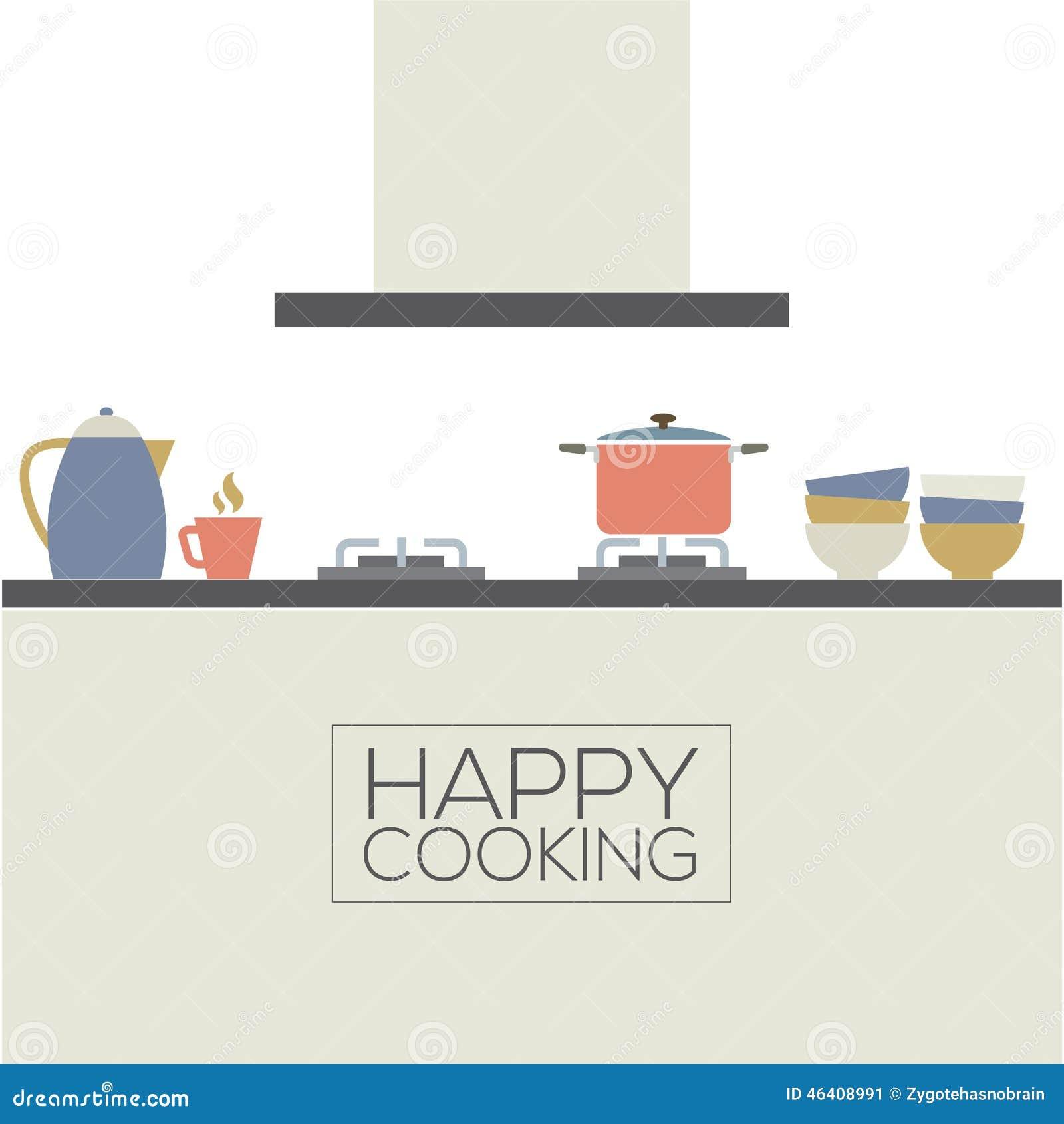 Modern Flat Design Kitchen Interior Stock Vector Illustration Of