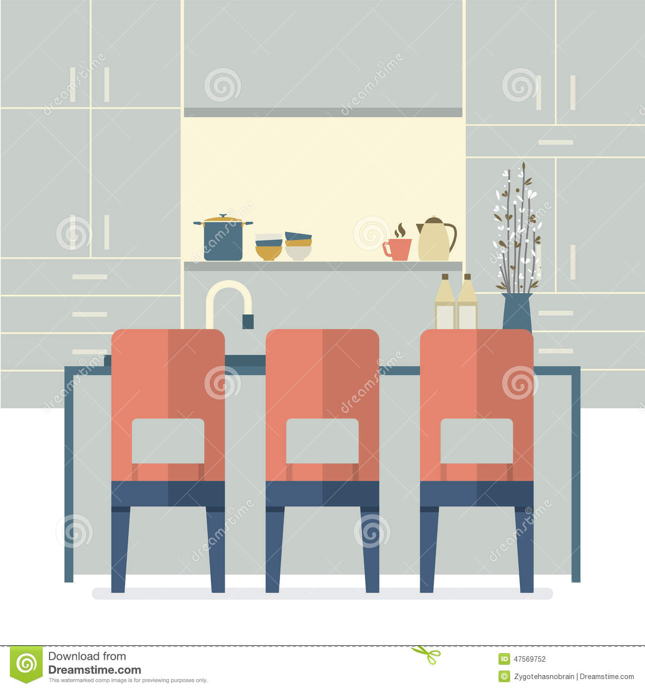 Interior Design For Kitchen For Flats: Modern Flat Design Kitchen Interior Stock Vector