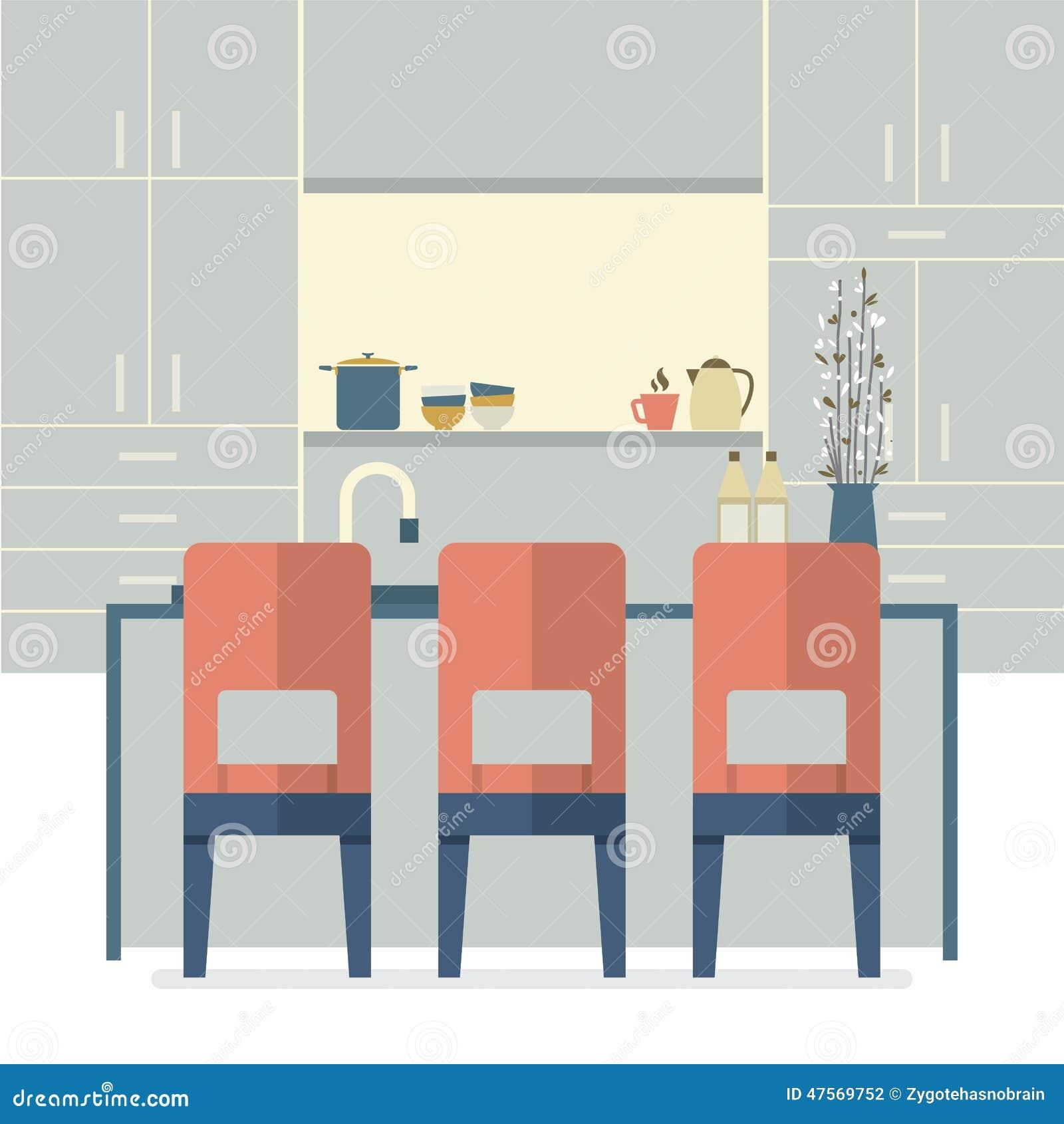 Modern Flat Design Kitchen Interior Stock Vector Image 47569752
