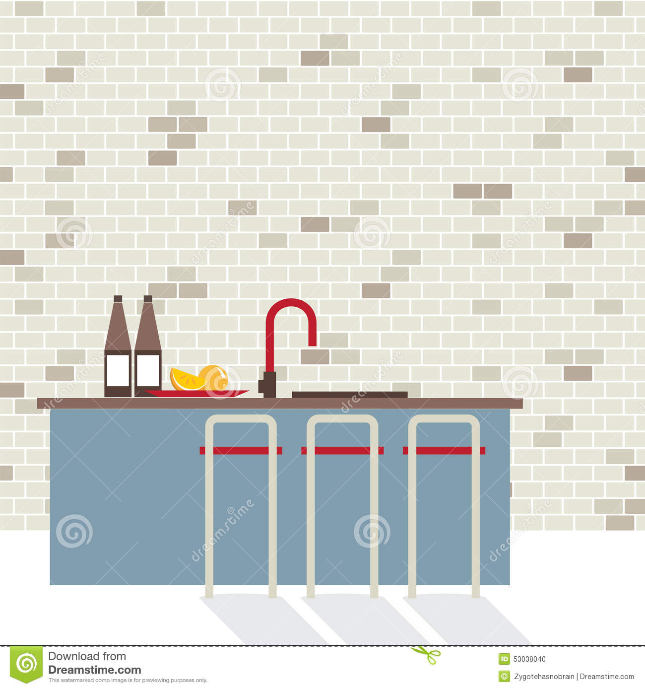 Modern Flat Design Kitchen Interior Stock Vector Illustration Of