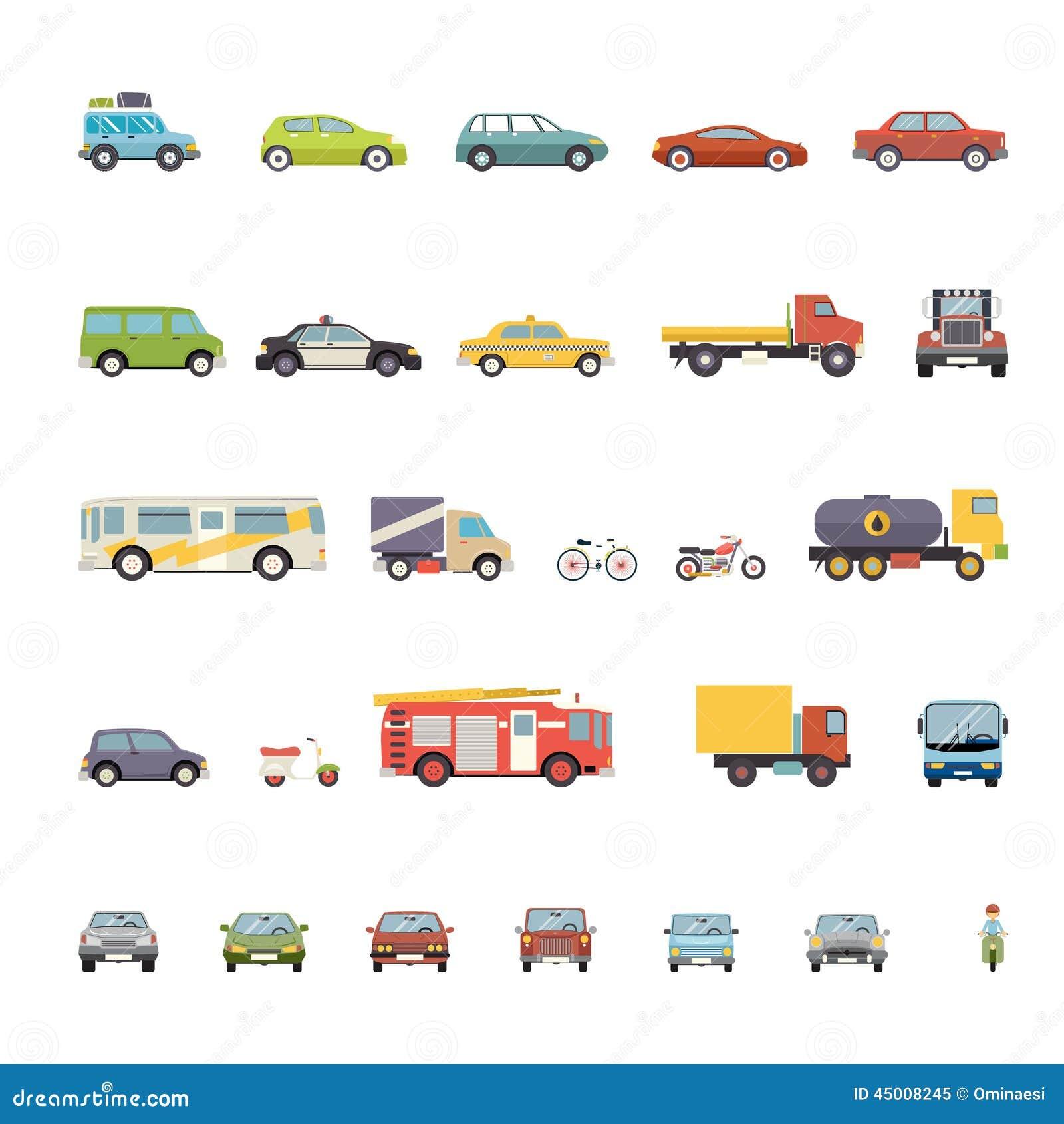 Modern Flat Design Transport Symbols Stylish Retro Stock