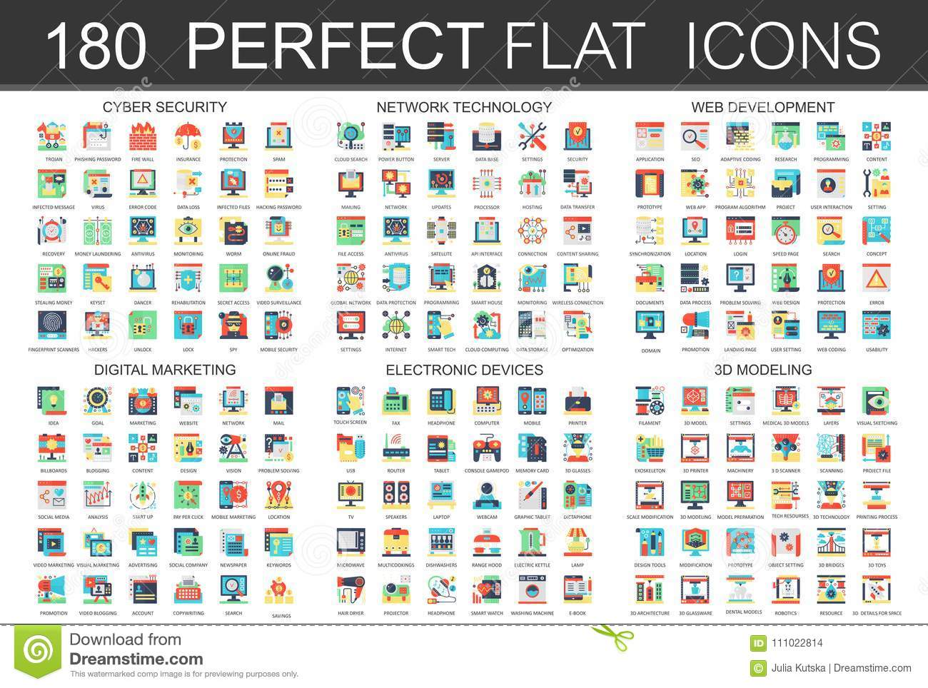 180 modern flat icons set of cyber security, network technology, web development, digital marketing, electronic devices