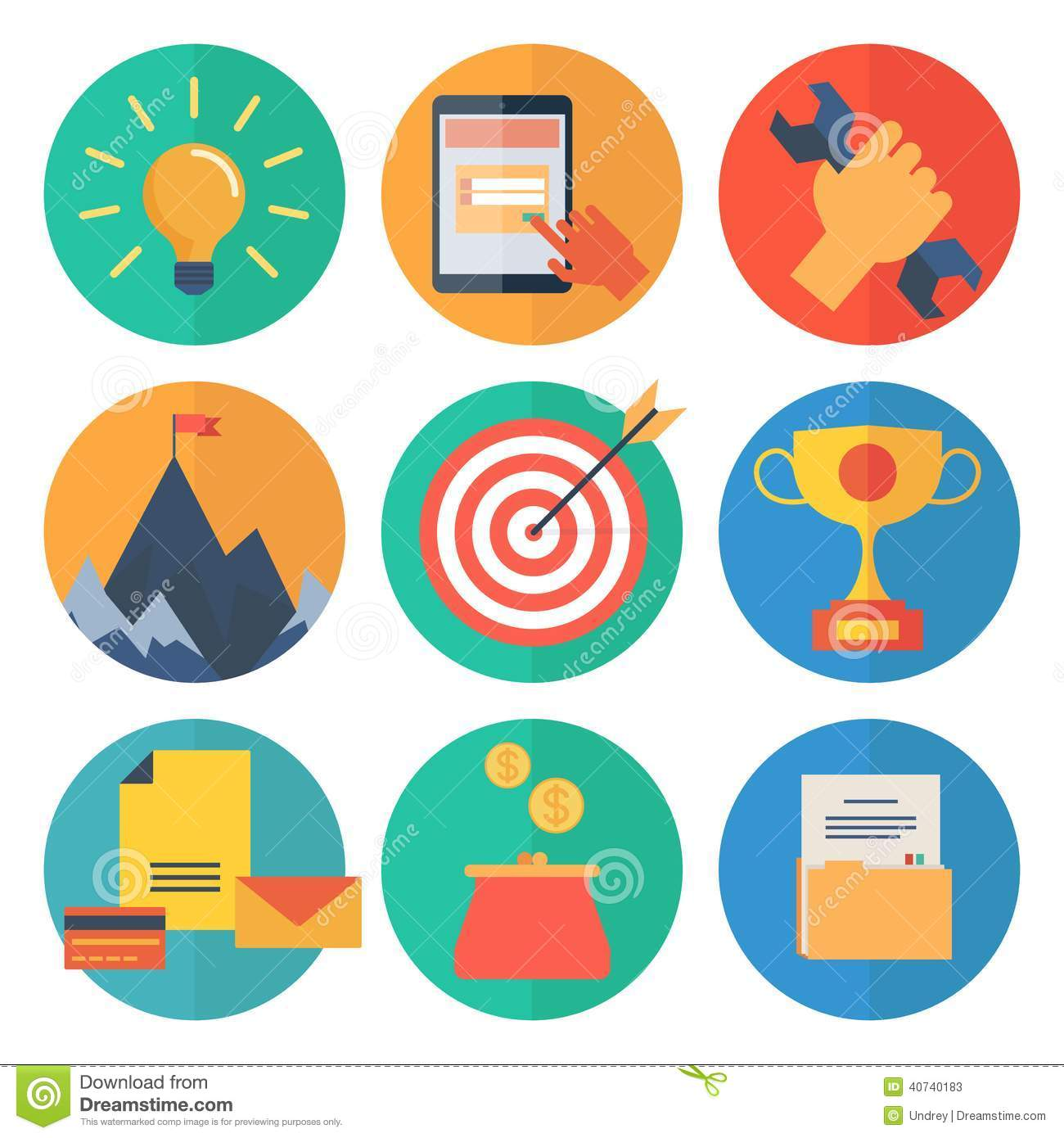 Modern flat icons vector collection, web design objects, business, office and marketing items