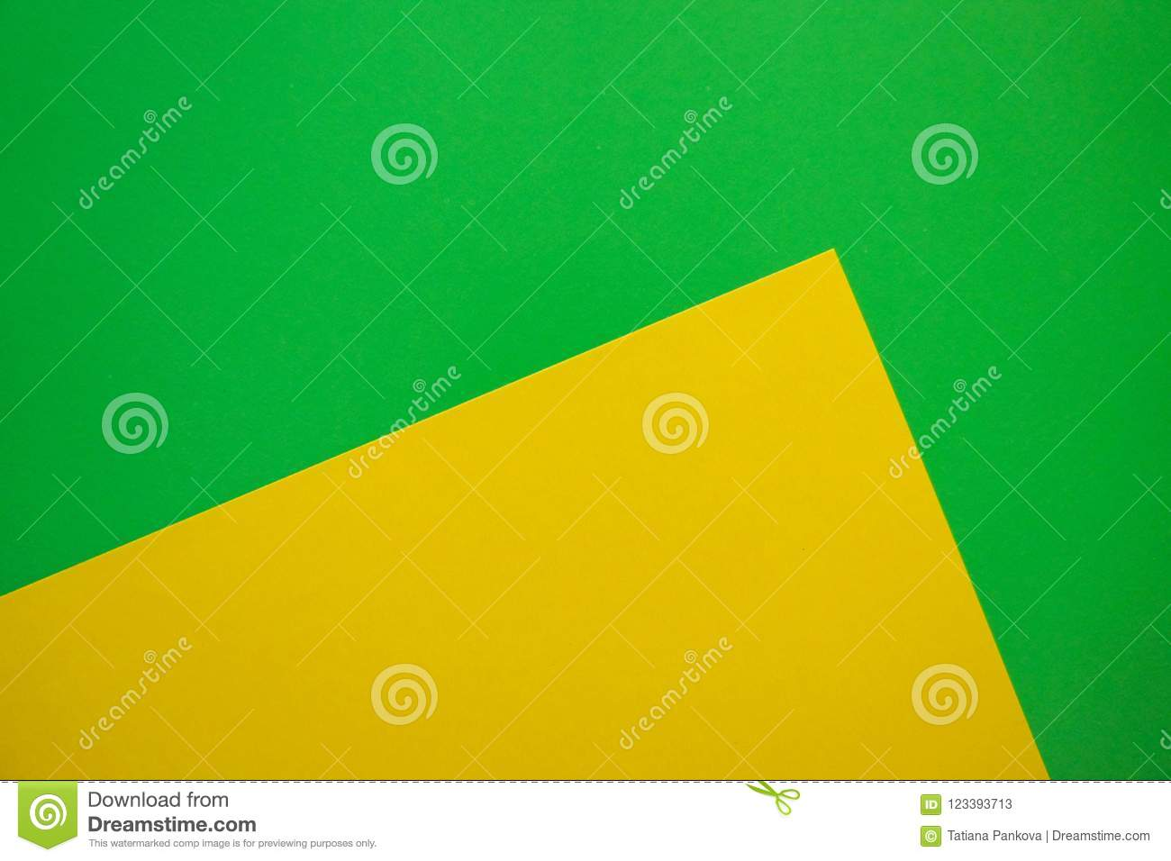 Modern Flat Lay Background With Color Paper Sheets. Yellow And Green ...