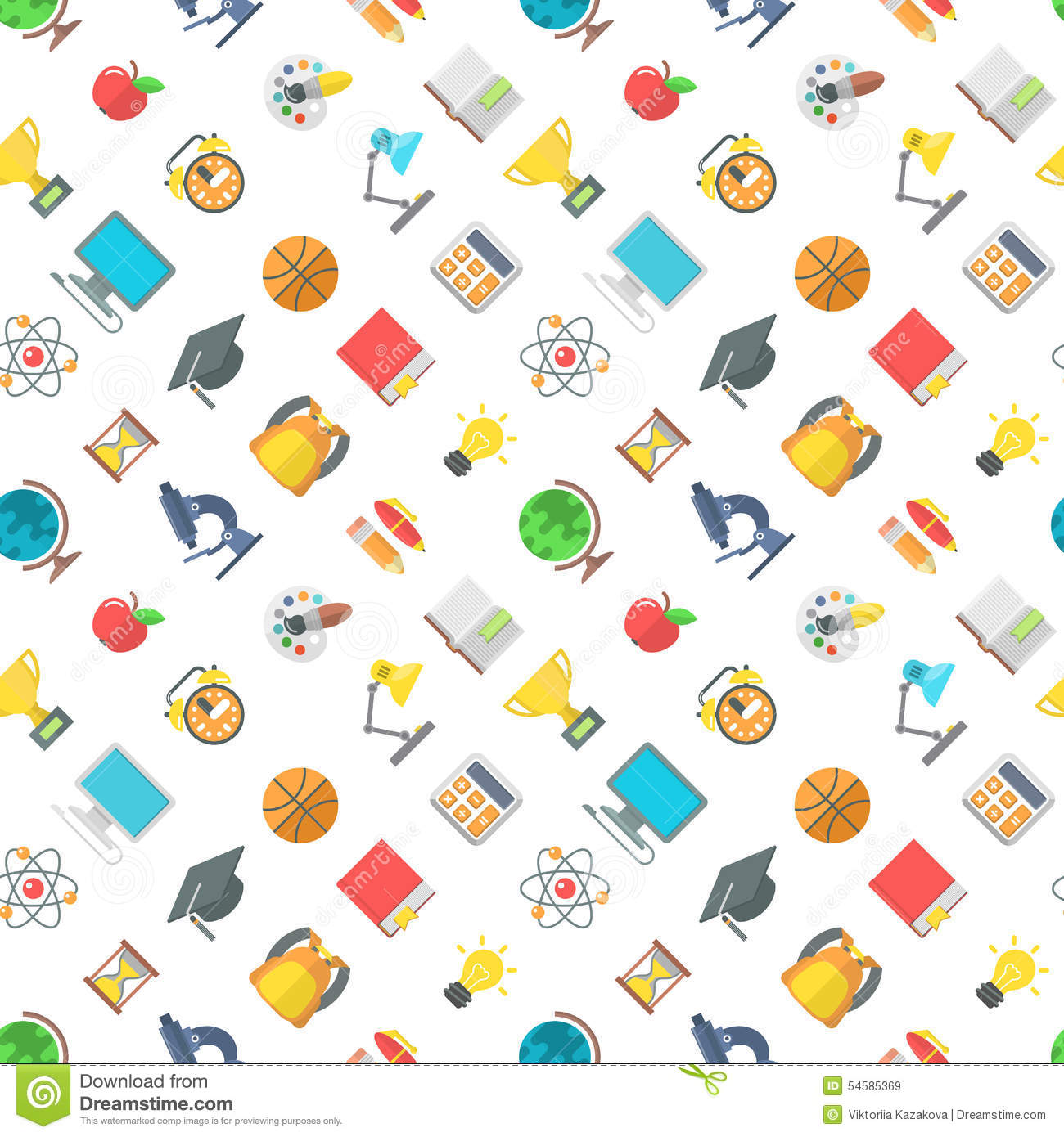 Science for kids school symbols and design stock vector modern flat school icons seamless pattern royalty free stock images buycottarizona Image collections