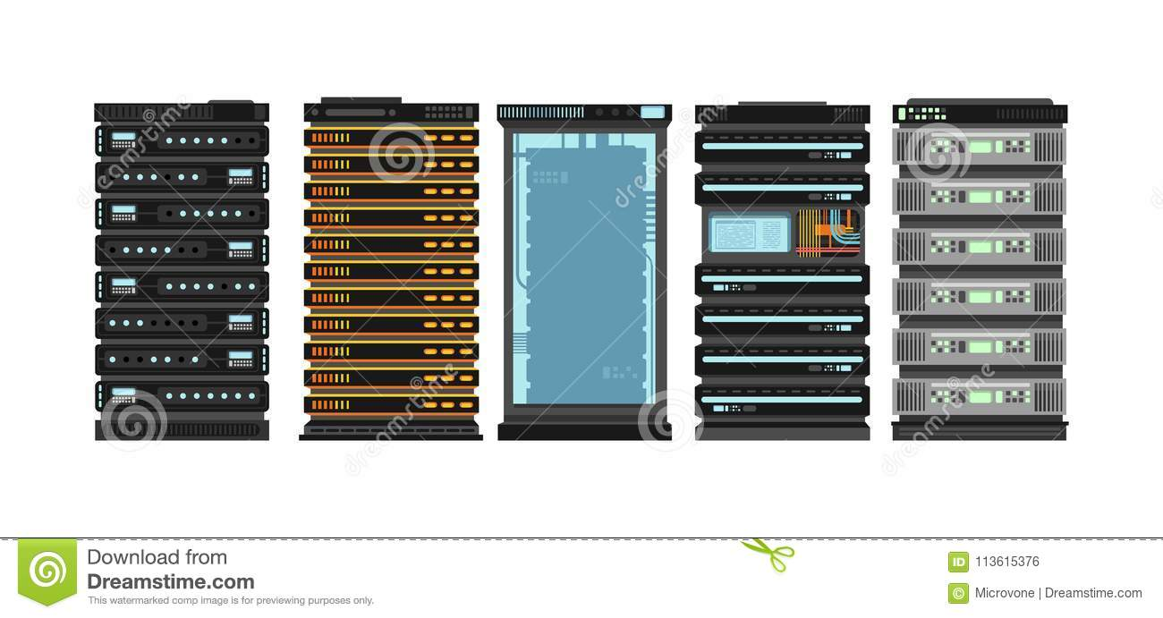 modern flat server racks. computer processor servers for server room