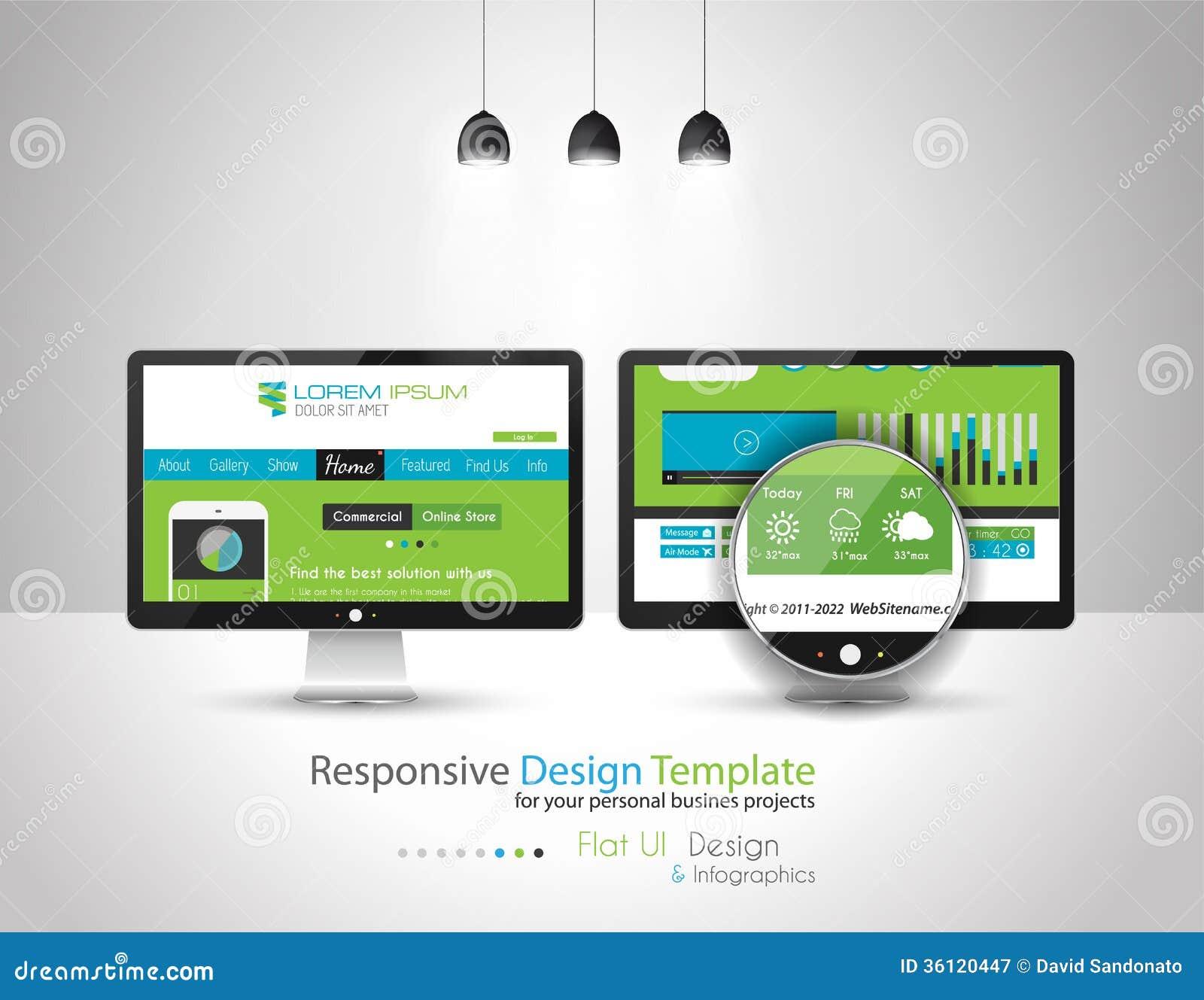Modern Flat Style UI interface design elements