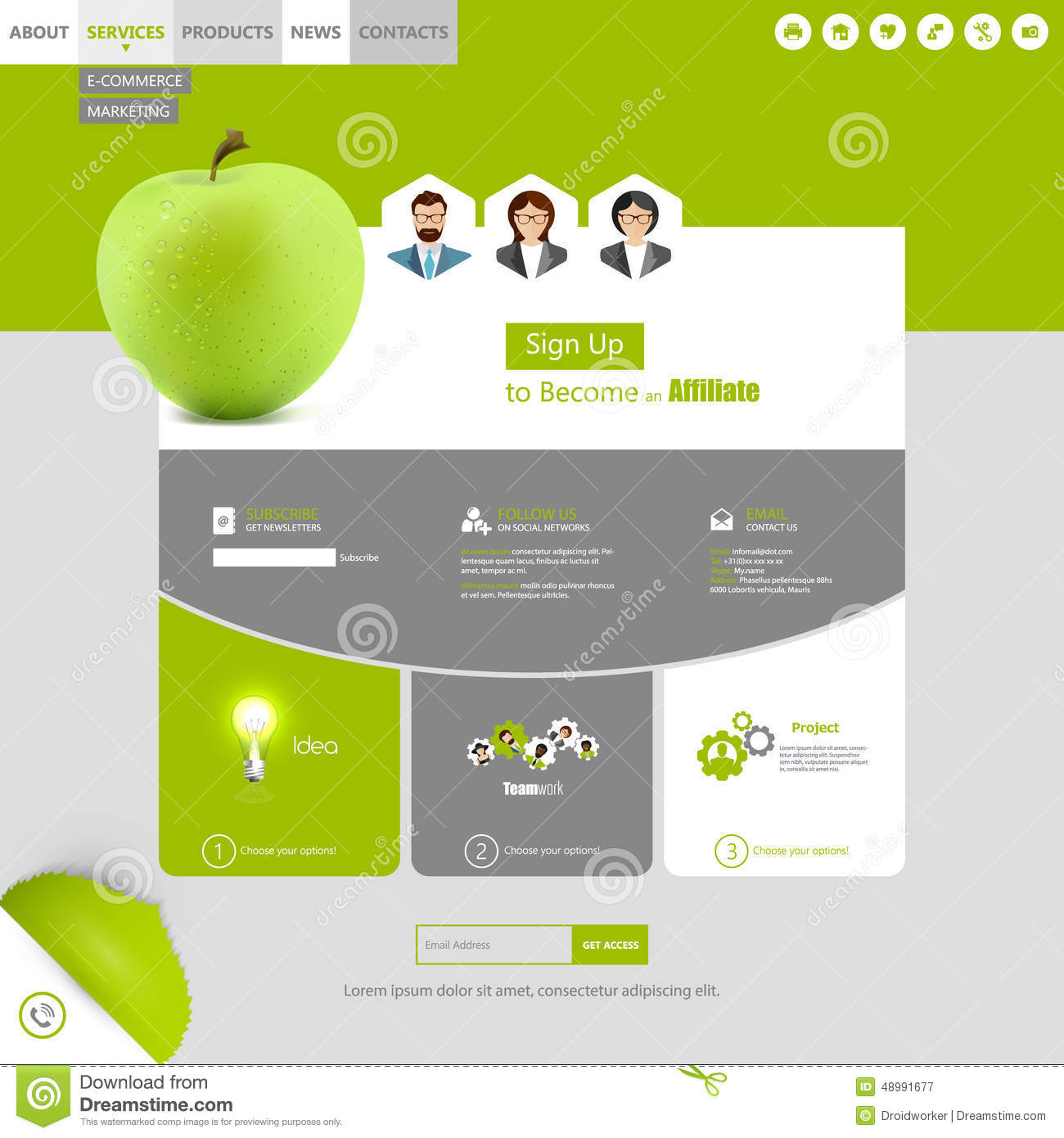 Modern Flat Style Website Design With Green Apple Illustration