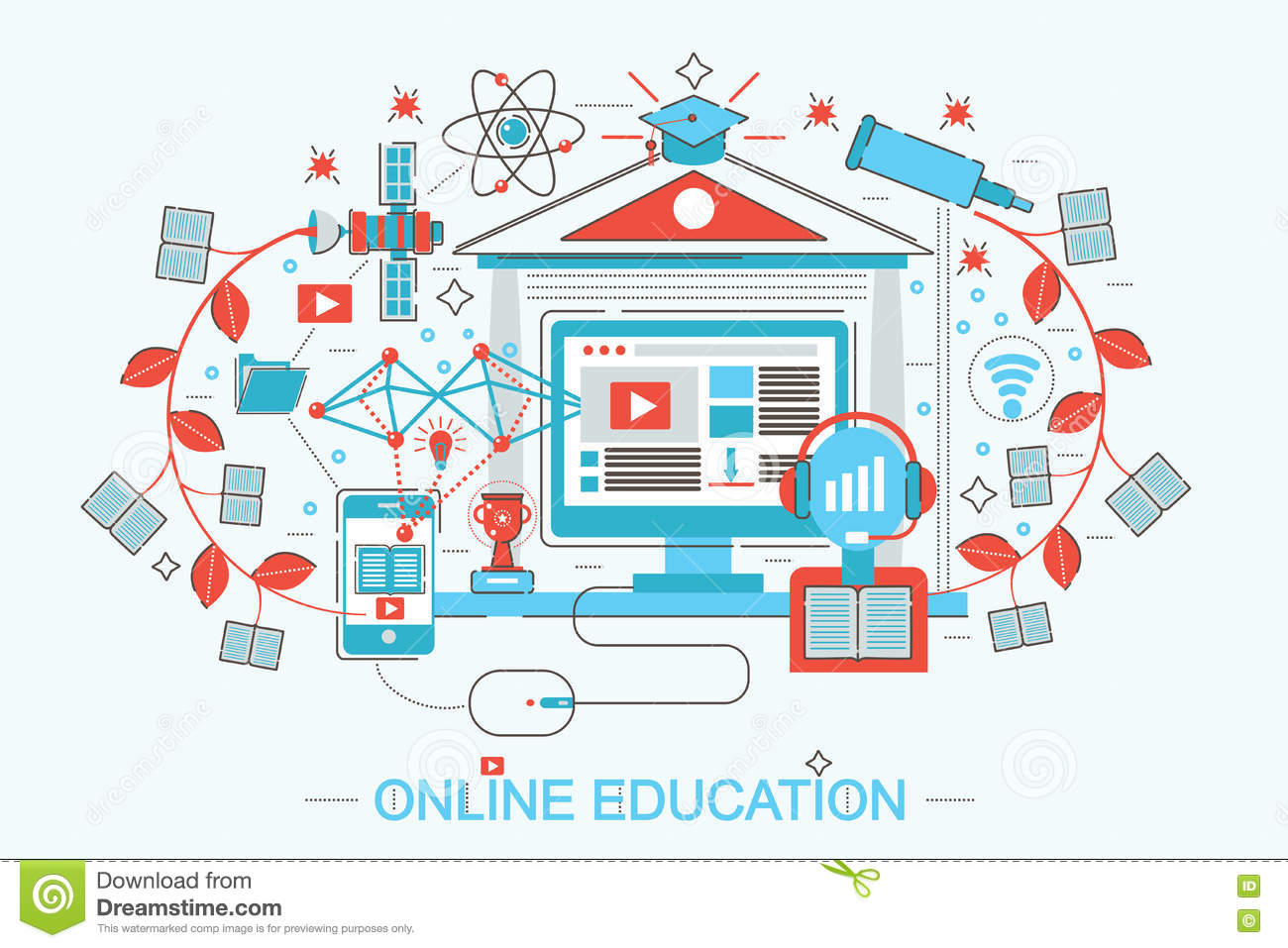 E learning poster designs - Modern Flat Thin Line Design Distance Online Education And E Learning Concept