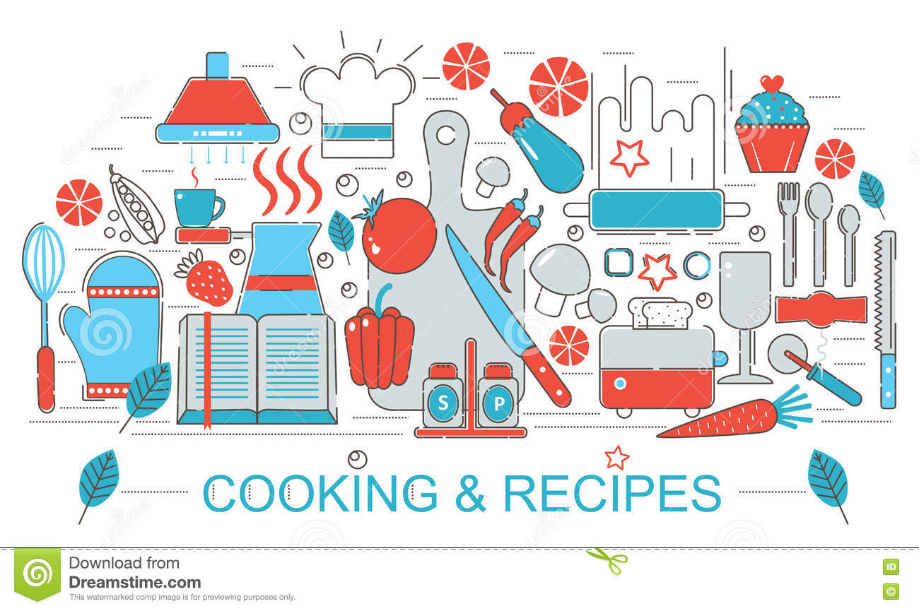 Modern Flat Thin Line Design Kitchen Cooking And Recipes Concept For Web  Banner Website Stock Images Part 78