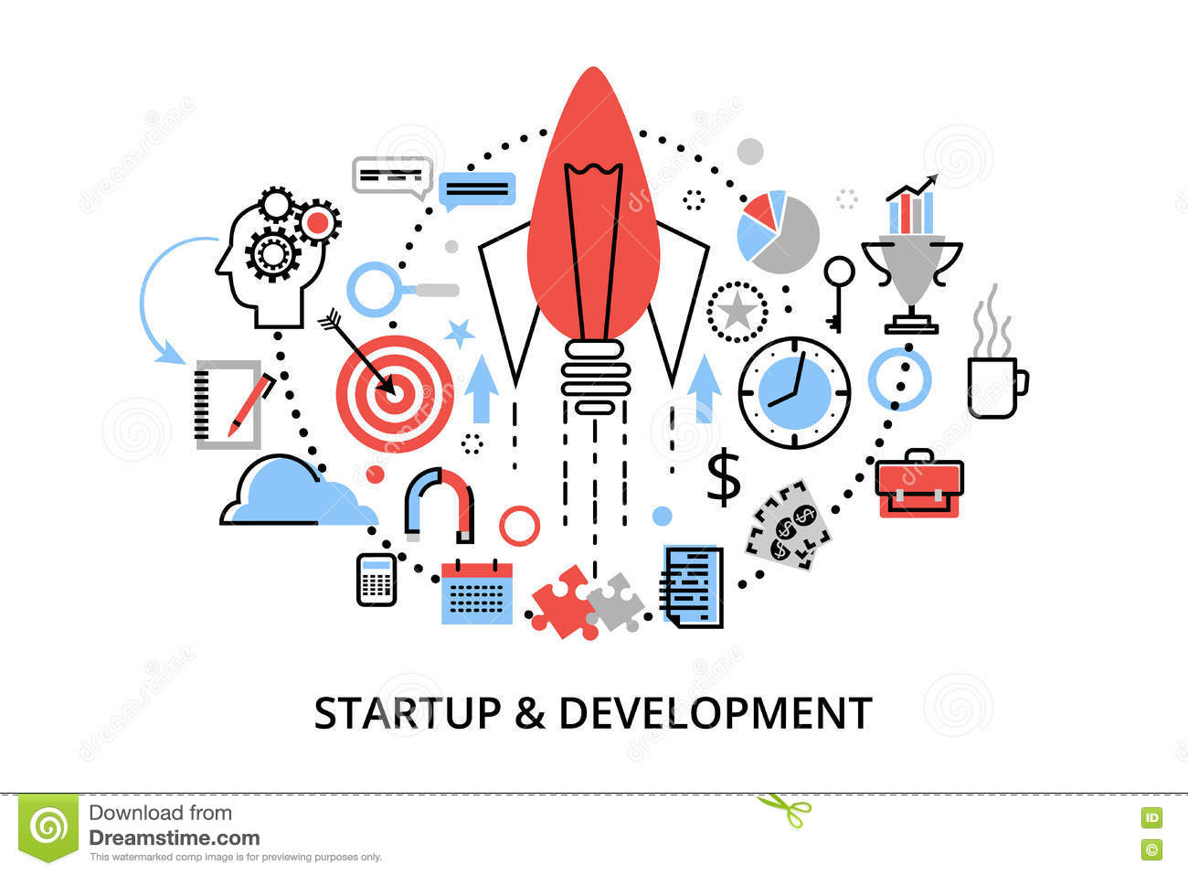 Modern flat thin line design vector illustration, concepts of startup project, business strategy and innovation development