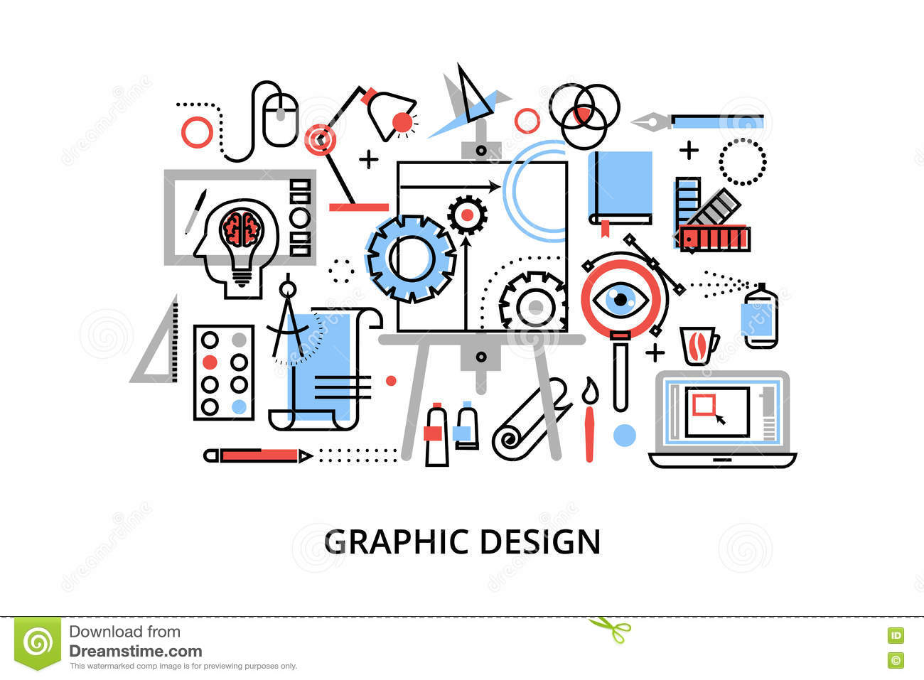 Modern flat thin line design vector illustration, infographic concept of graphic design, designer items and tools