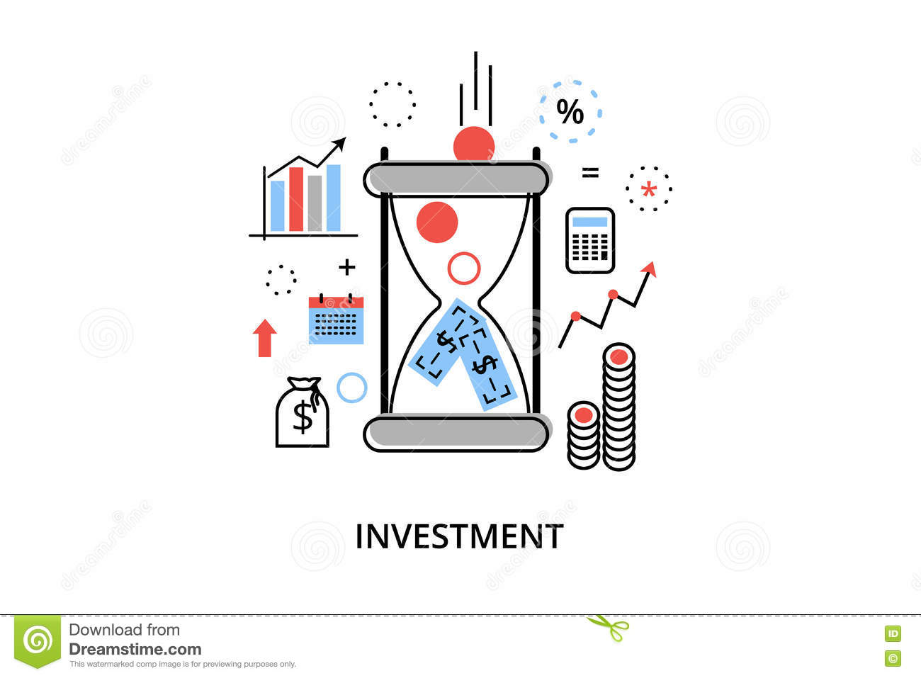 Modern flat thin line design vector illustration, infographic concept with icons of investing to business and finance process