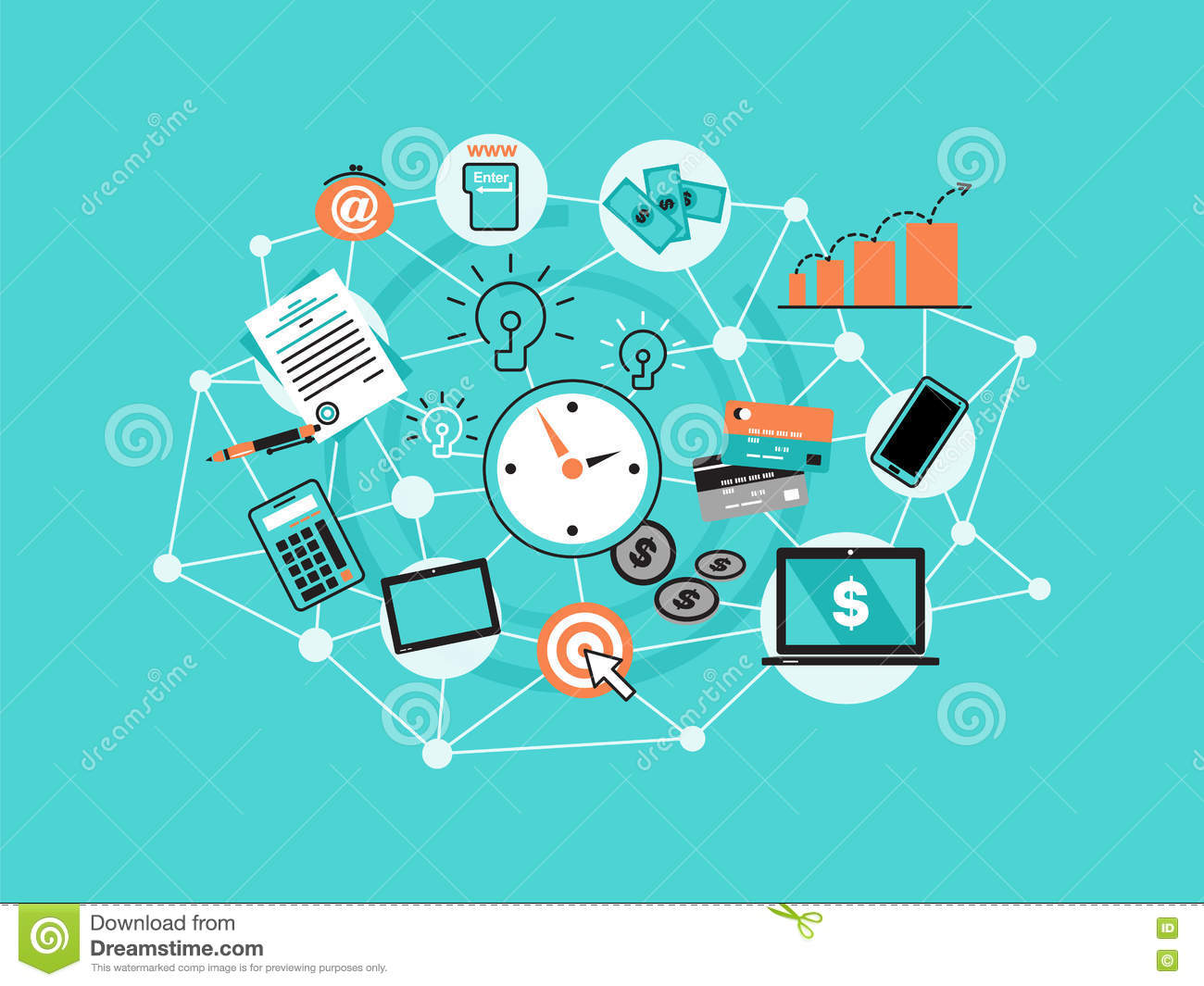Modern flat thin line design vector illustration, infographic concept with icons of online business, internet marketing idea