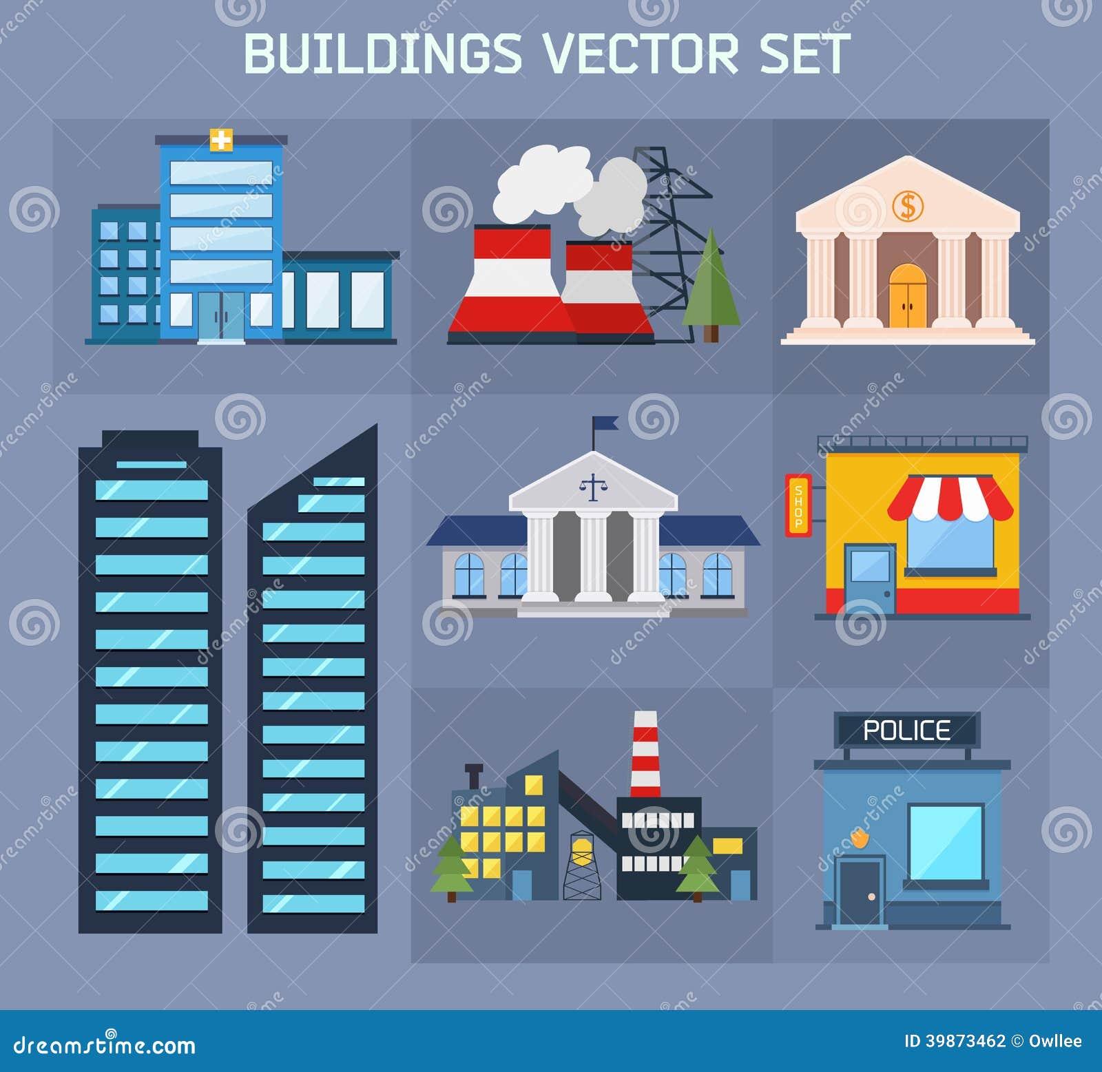 Modern flat vector buildings set stock vector for Building design website