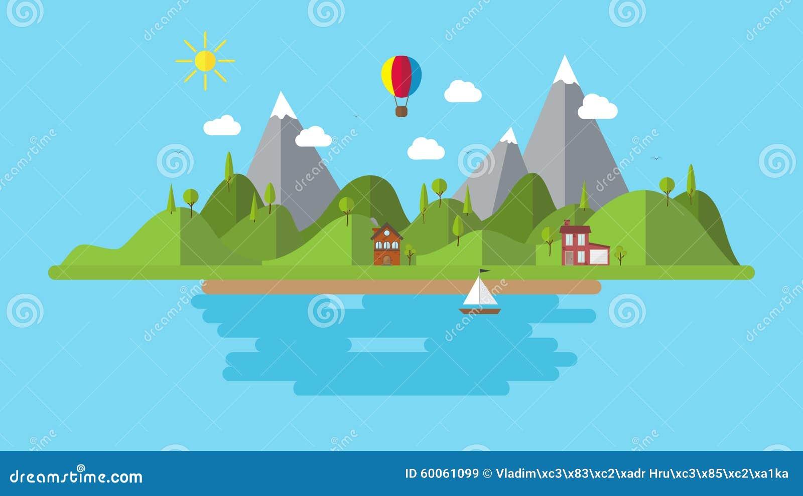 Landscape Illustration Vector Free: Modern Flat Vector Landscape Illustration . With House
