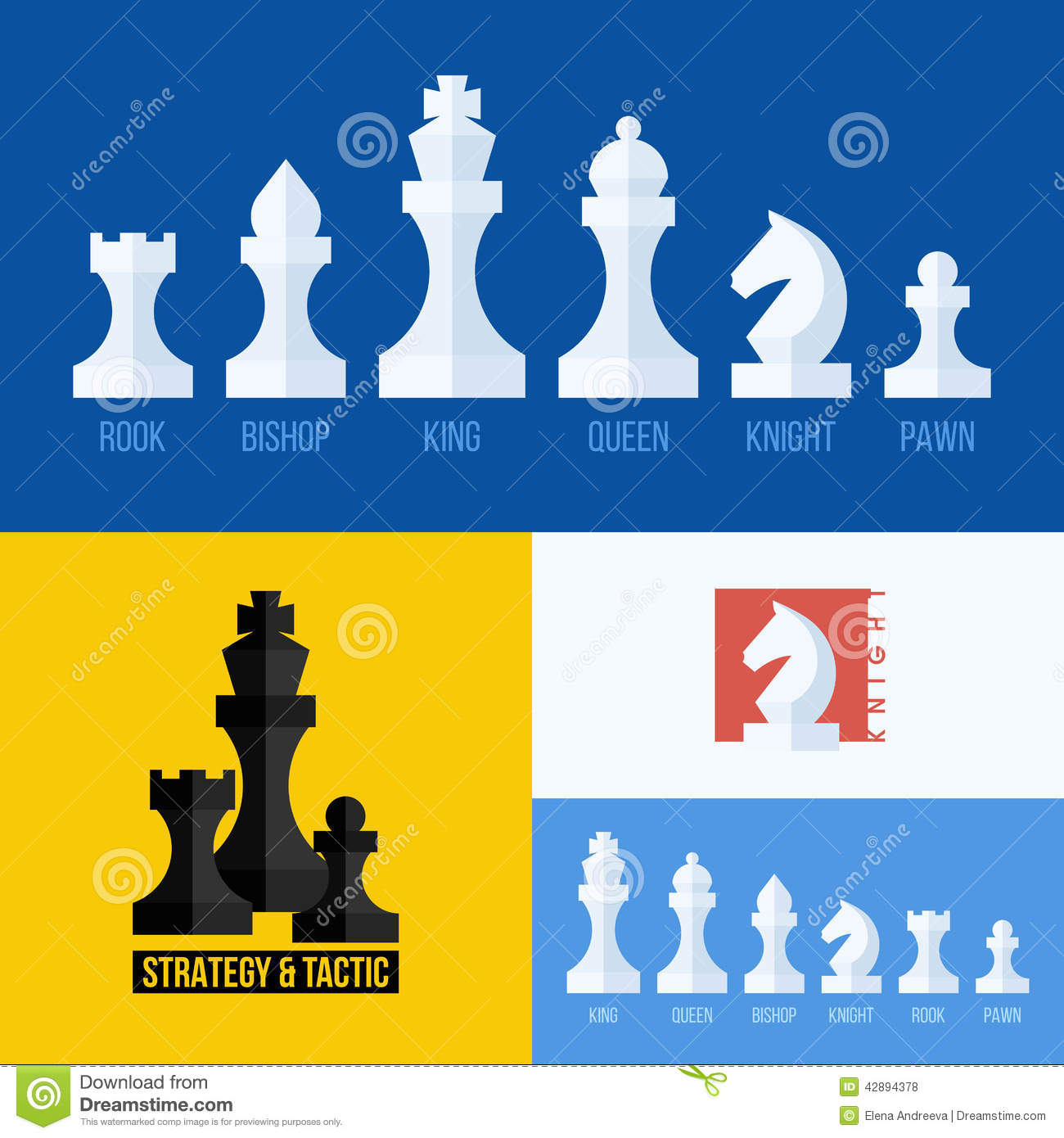 Modern Flat Vector Set Of Chess Icons Chess Pieces Stock Vector