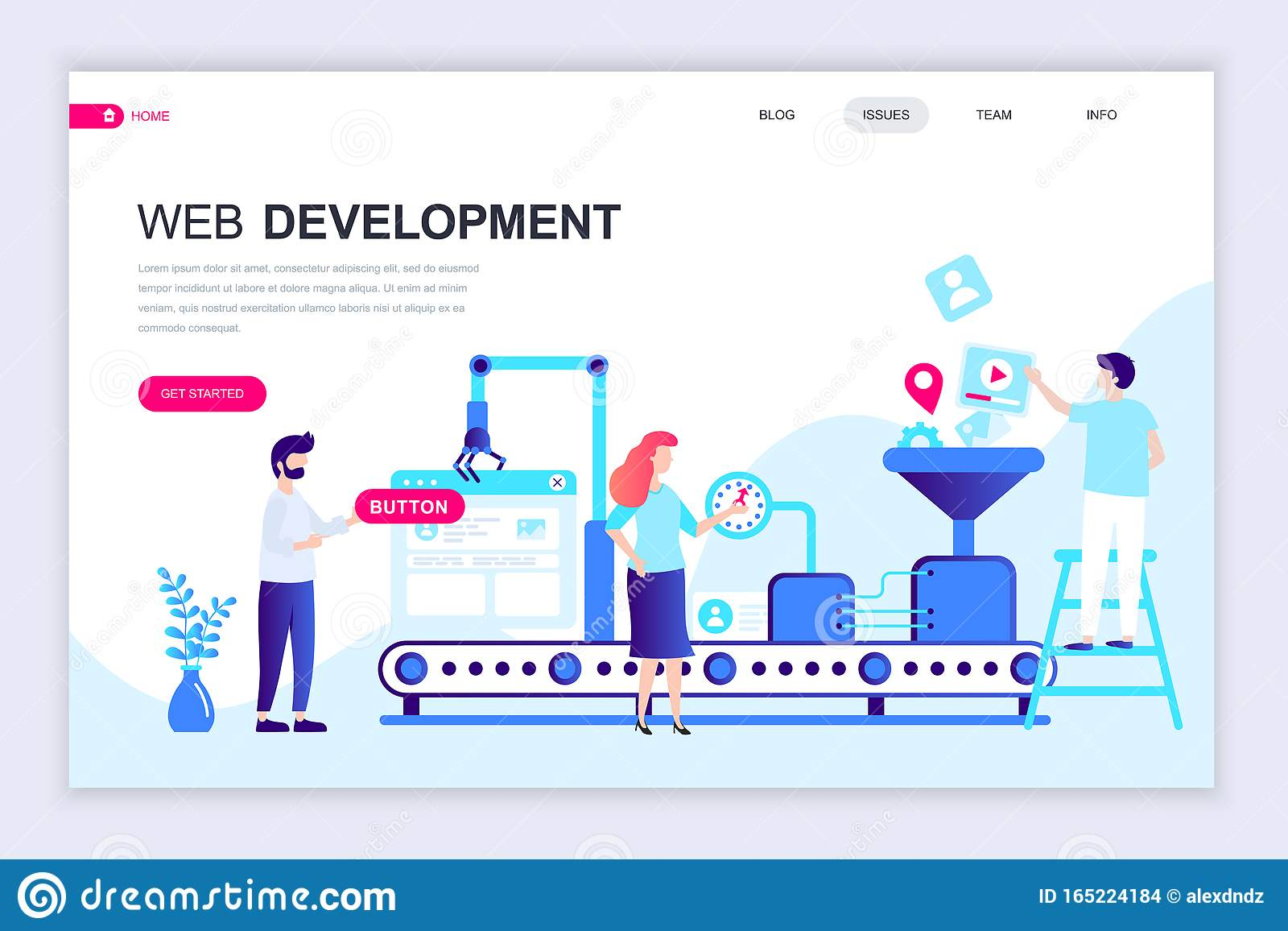 Modern Flat Web Page Design Template Of Web Development Decorated People Character For Website And Mobile Website Stock Vector Illustration Of Apps Character 165224184