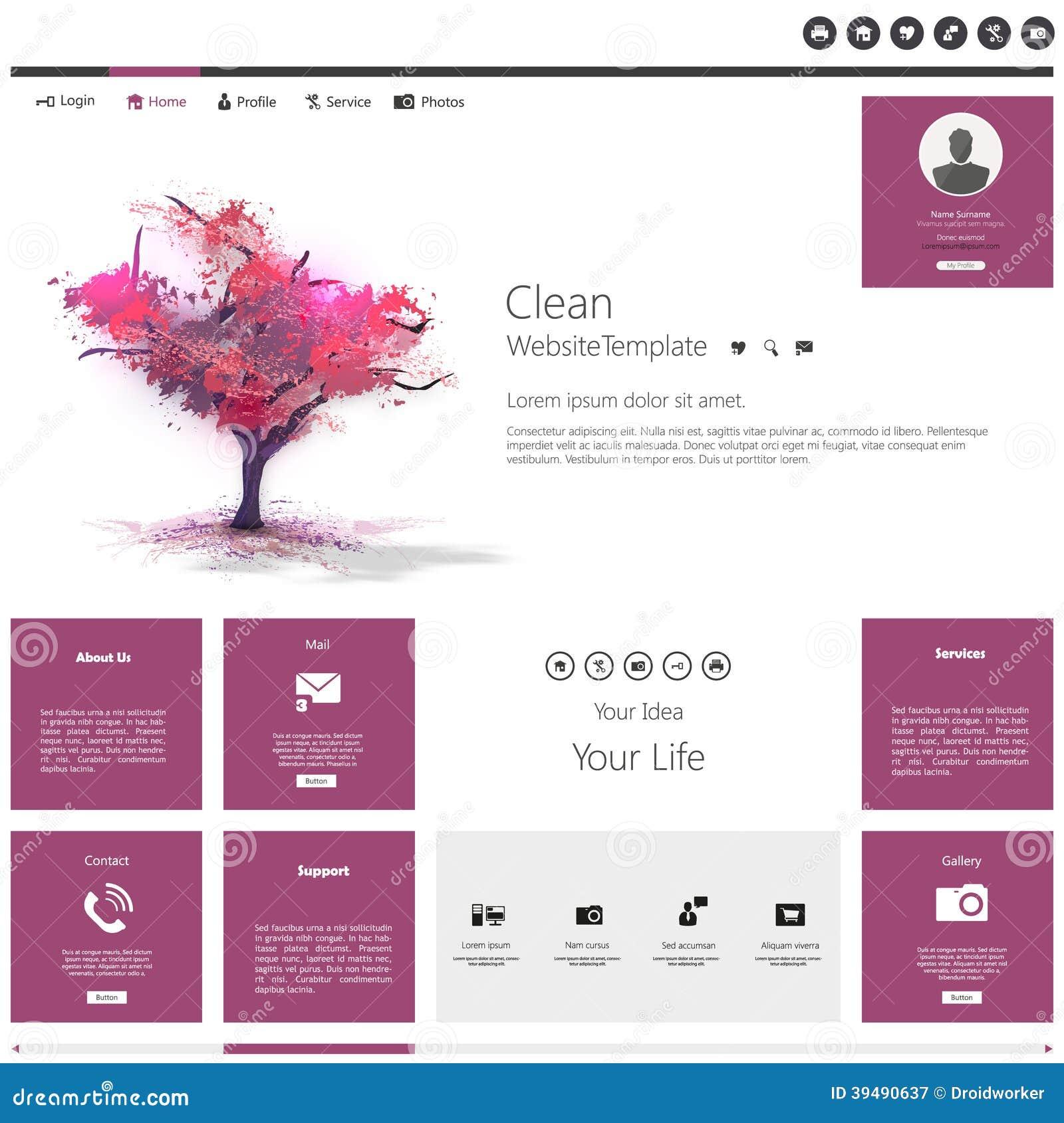 Modern Flat Website Template With Beautiful Flowering Purple Tree ...