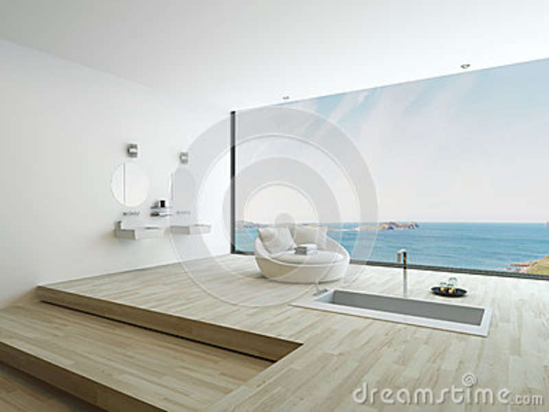 Modern Floor Bathtub Against Huge Window With Seascape View Stock ...