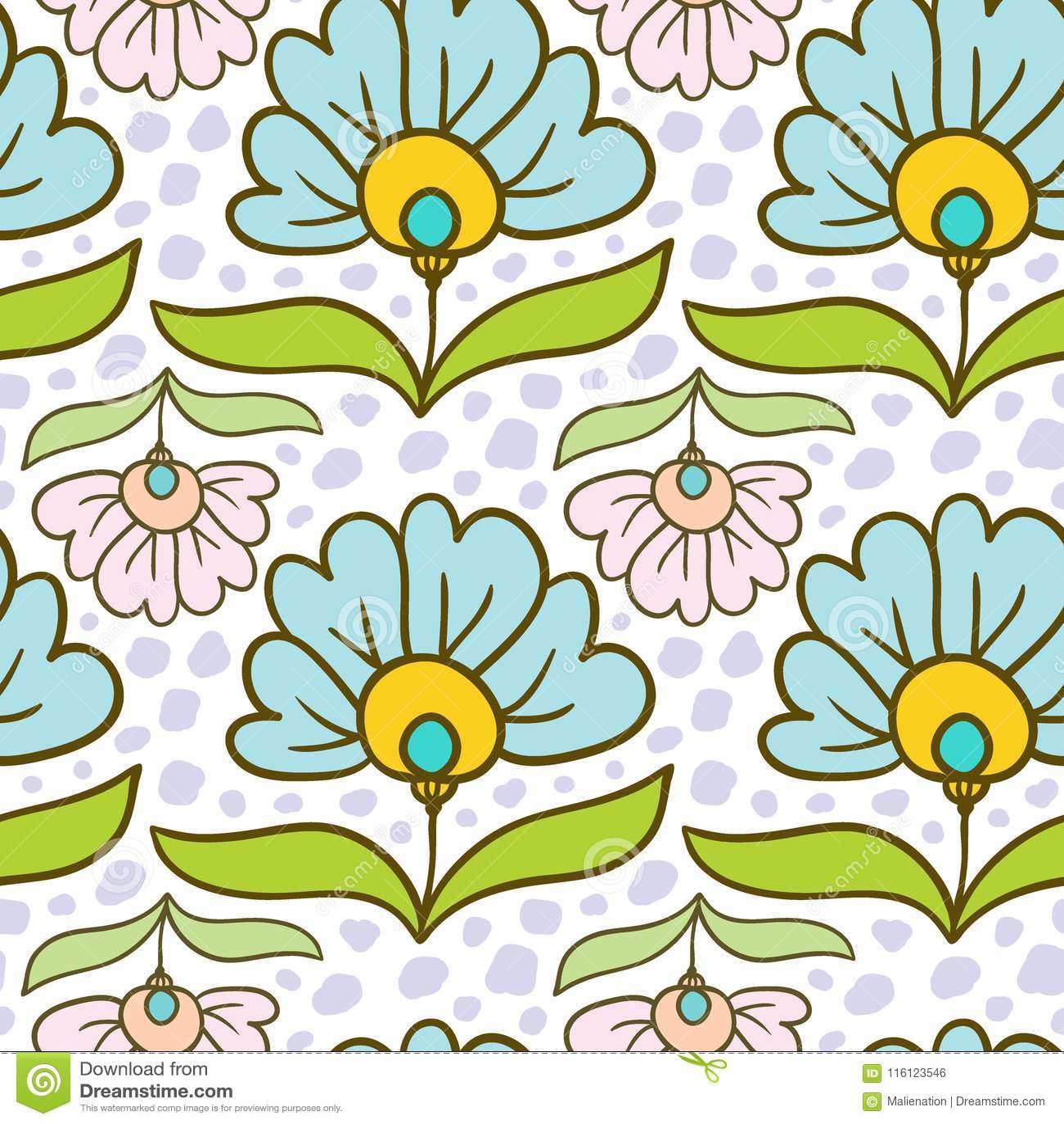 Modern Floral Pattern Flowers Print Vector Seamless Texture