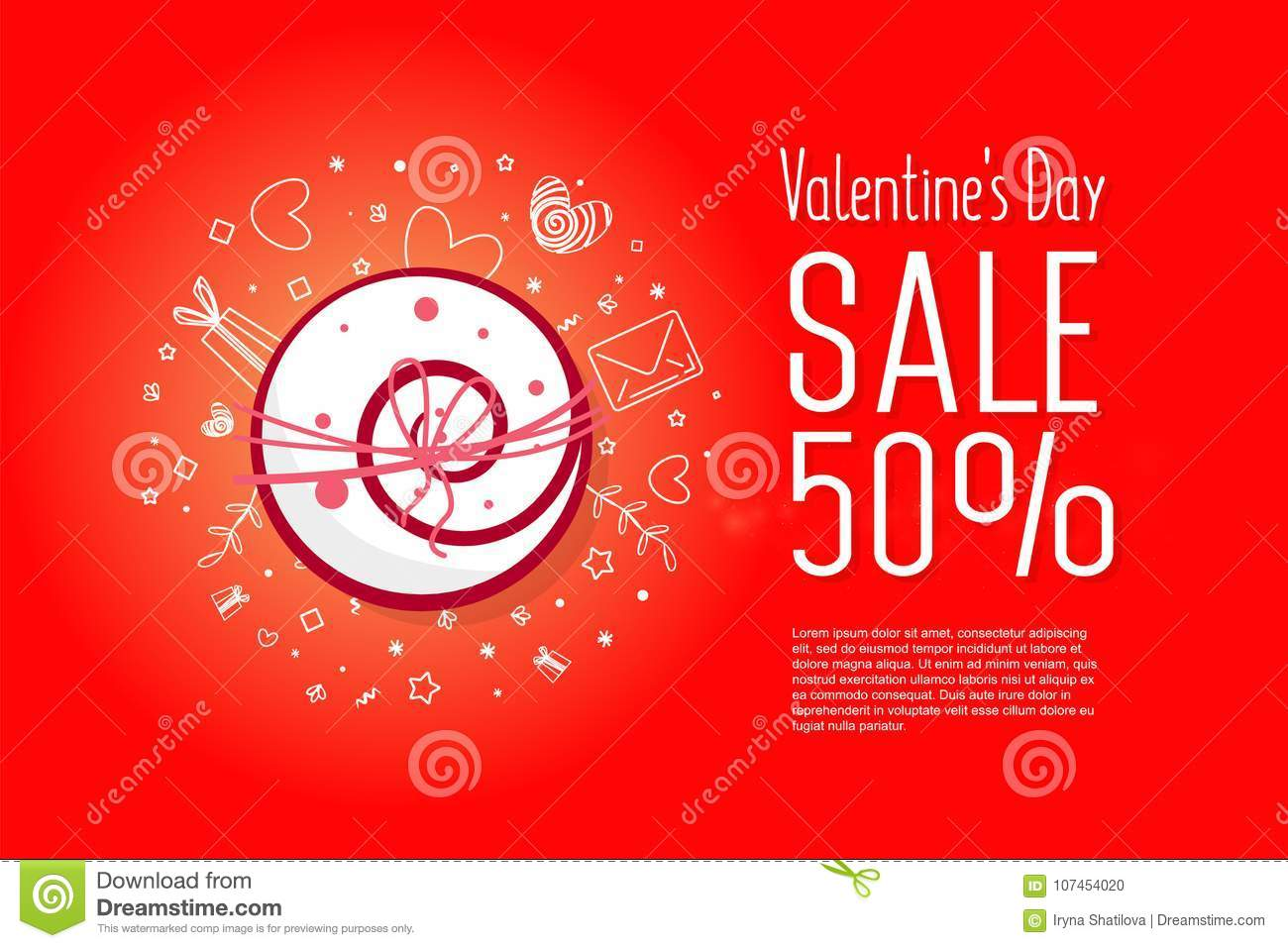 Modern Flyer With Happy Valentine`s Day Text. Stock Vector ...