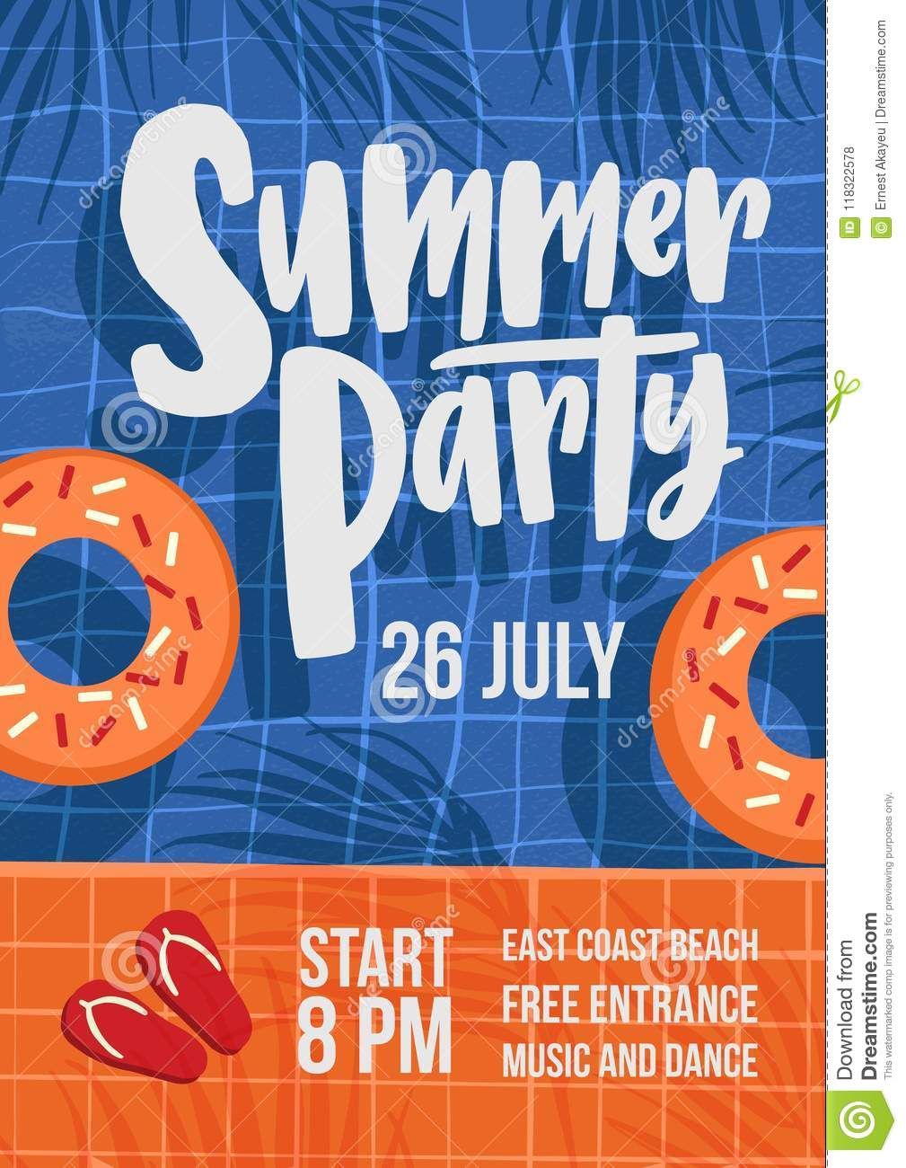 modern flyer or poster template for summer open air party with