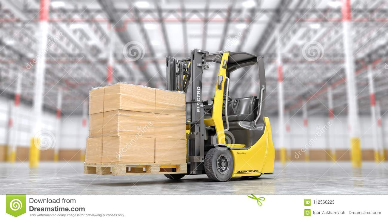 Modern forklift with cardboard boxes on a blurred warehouse background. 3d