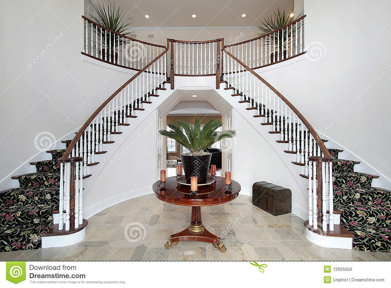 House Foyer Xl : Modern foyer with double staircase stock photo image of