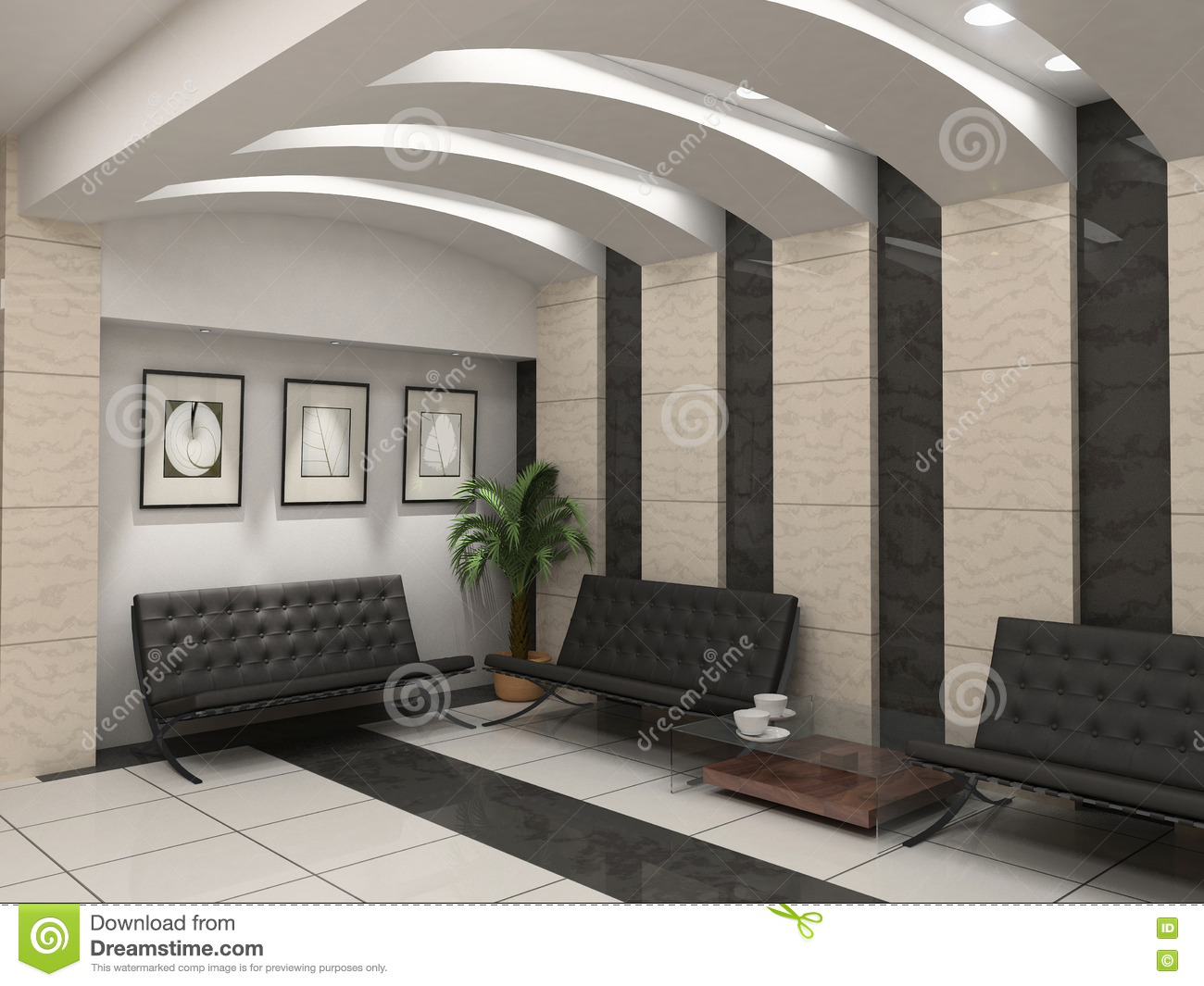 Modern Foyer Interior Stock Illustration Image Of