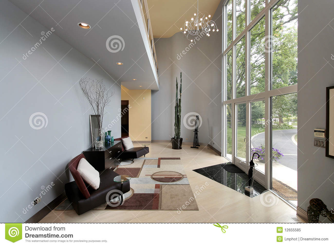 Modern Foyer Area : Modern foyer with two story windows stock image