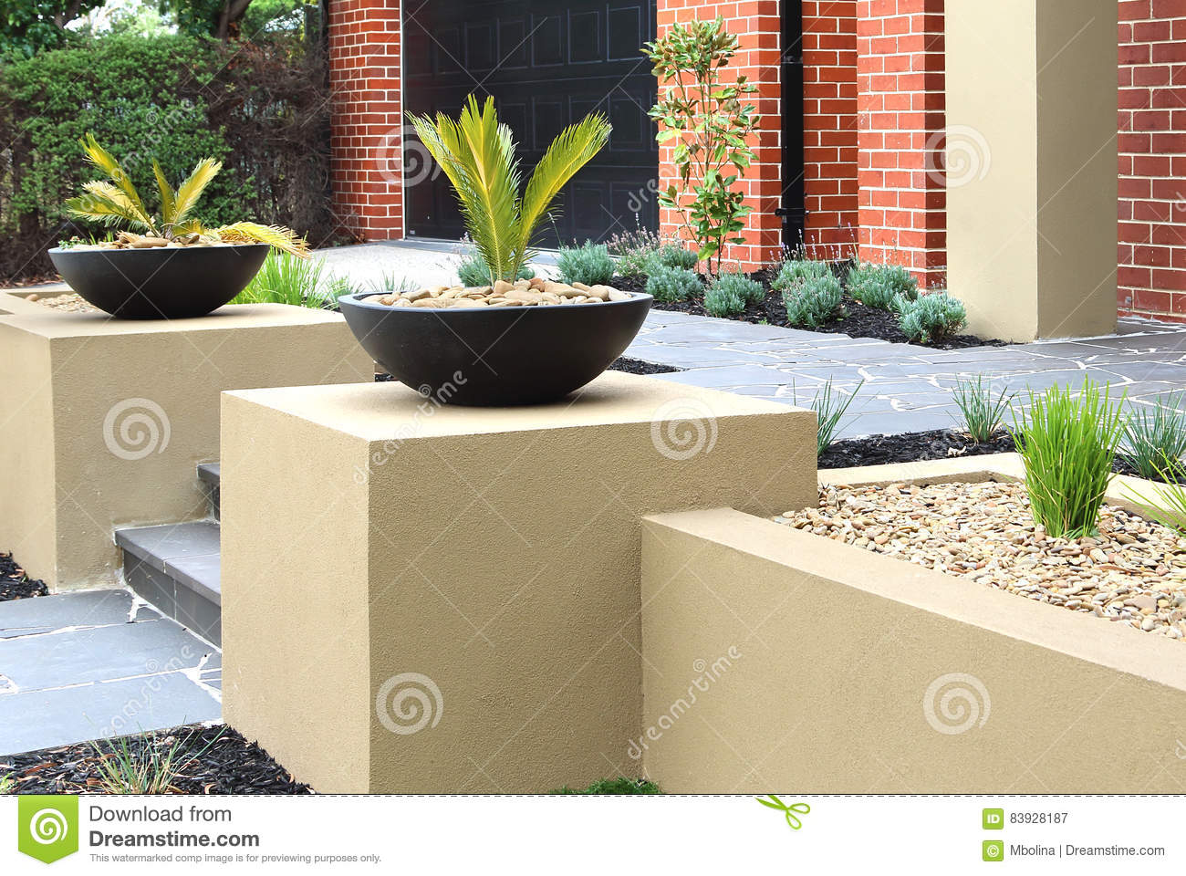 Modern Front Yard Design Ideas Stock Image - Image of lawn, grass ...