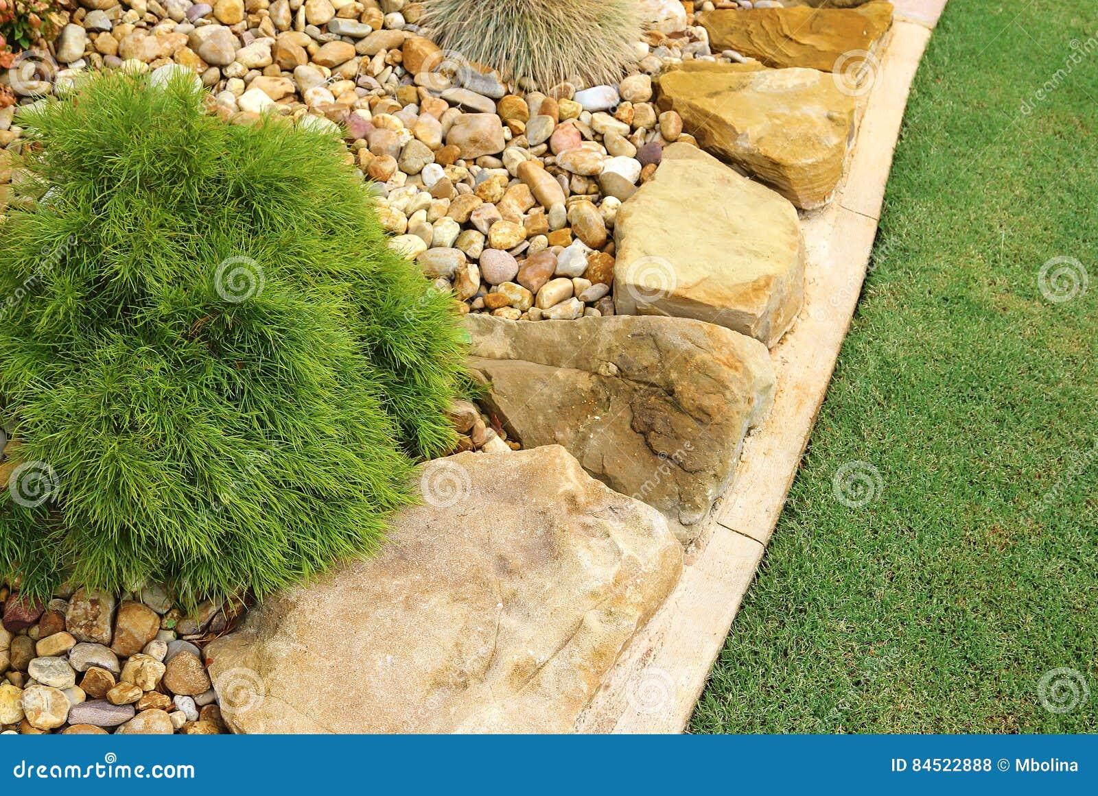 . Modern Front Yard Low maintenance Design Stock Photo   Image of