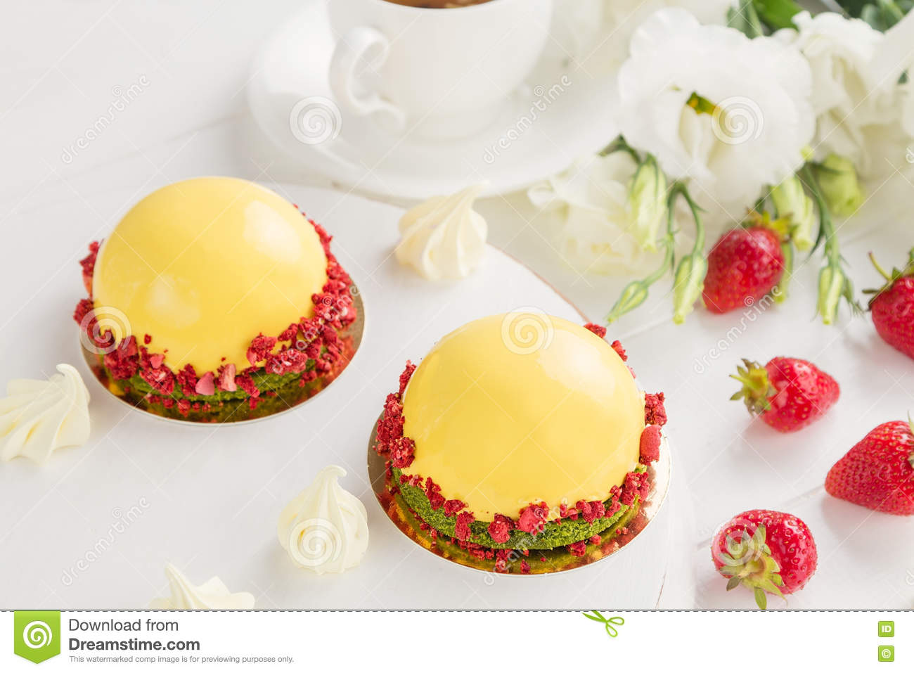 Modern Fruit Mousse Cakes Stock Photo Image Of Green
