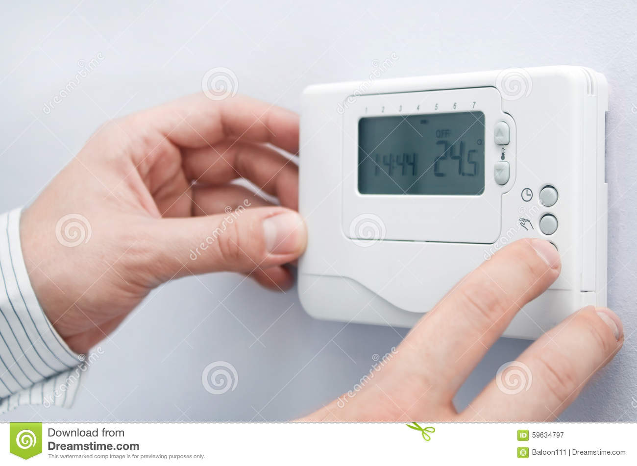 Thermostat Temperature Setting In A Modern Home Stock