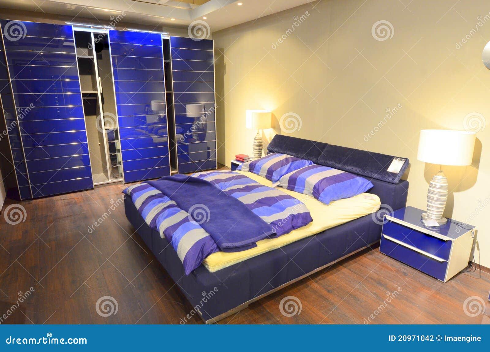 Blue Modern Bedrooms Modern Furnished Blue Bedroom