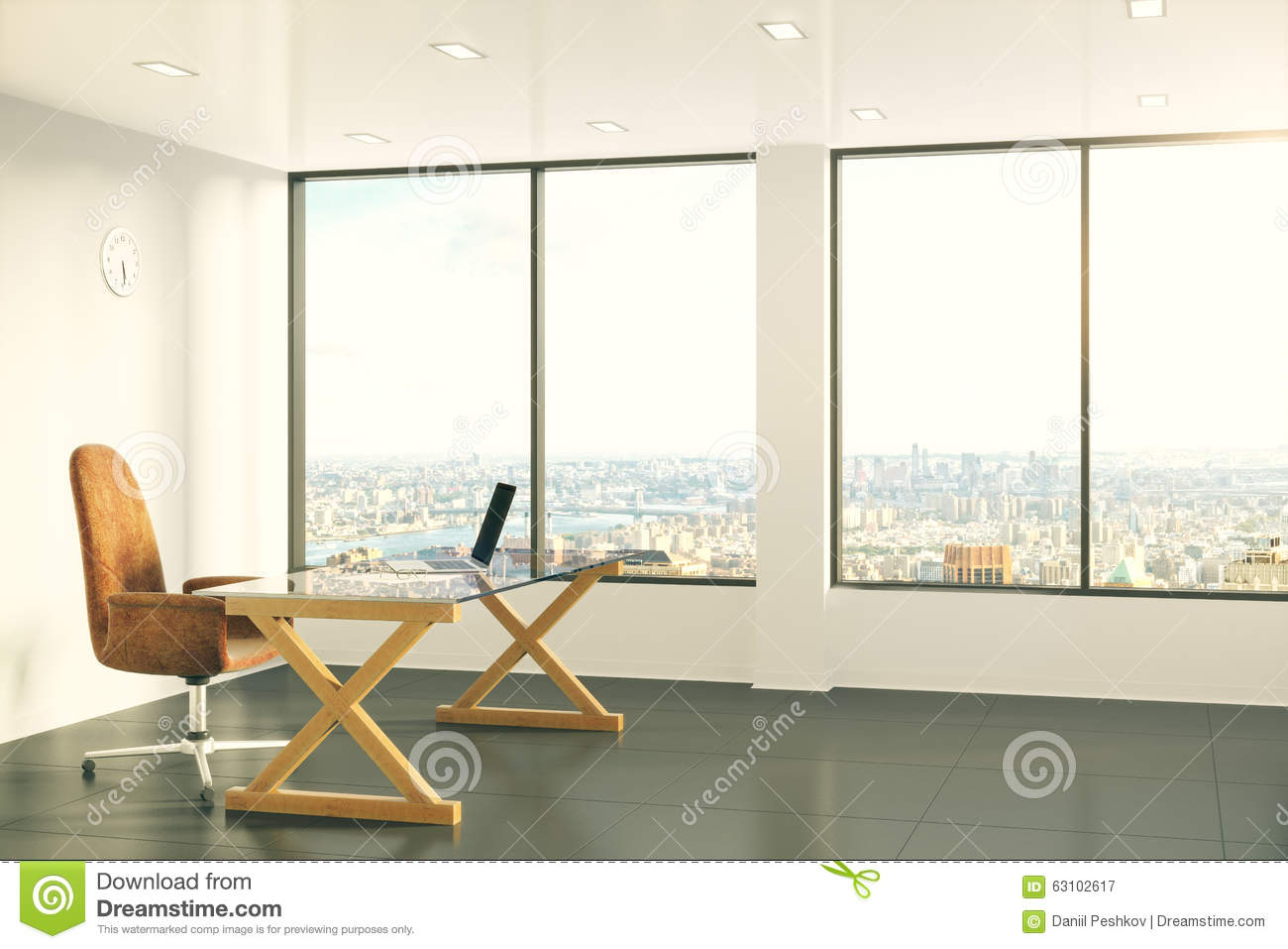 Modern furniture with laptop in sunny loft style office - Loft style office furniture ...