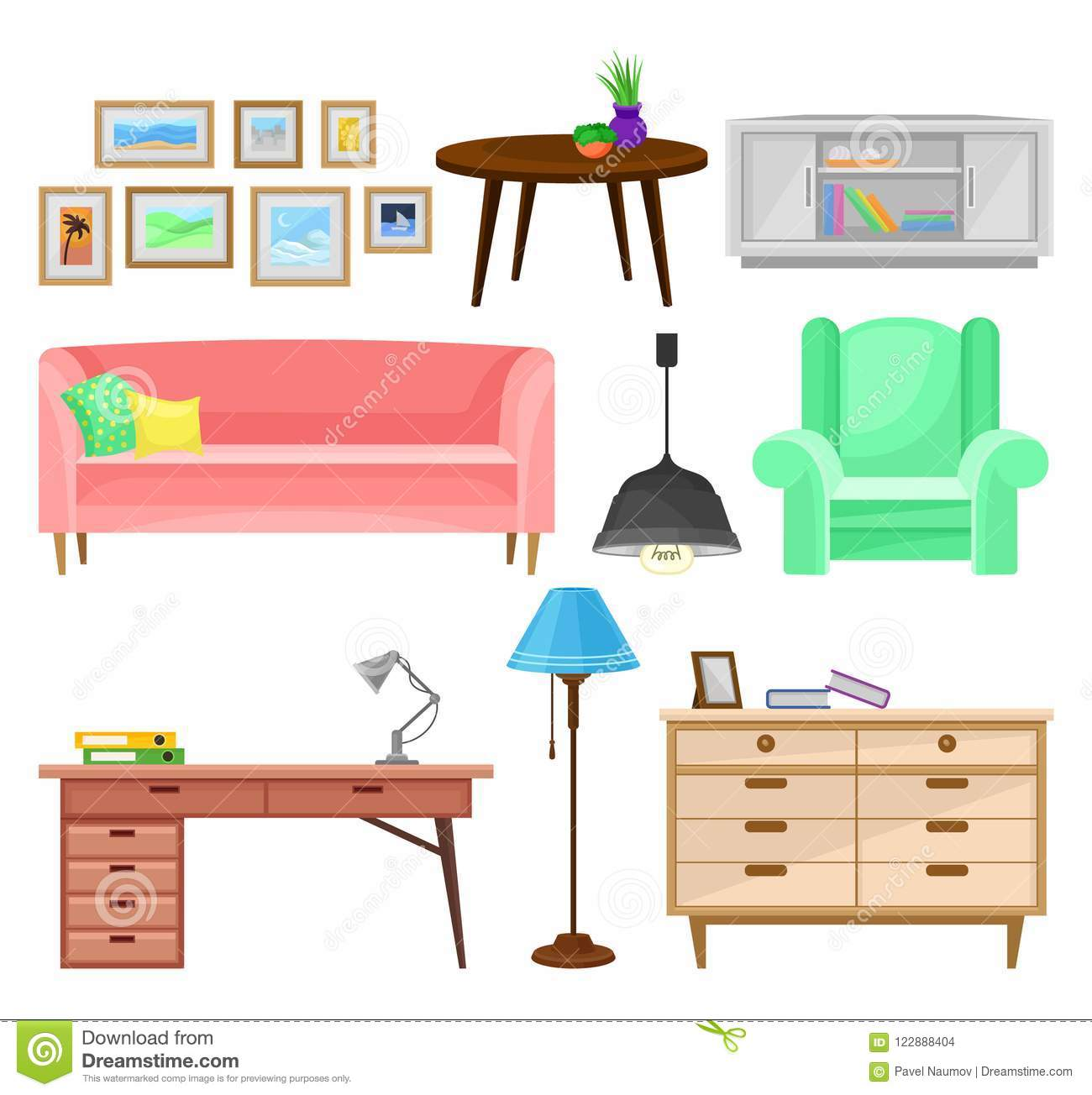 Modern furniture for living room set interior design elements vector illustrations isolated on a white background