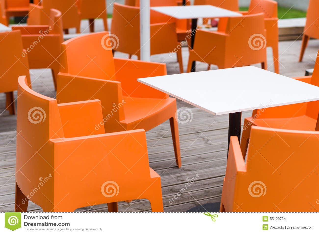 Modern Furniture Outdoor Cafe Terrace With Orange Chairs Stock Photo Image