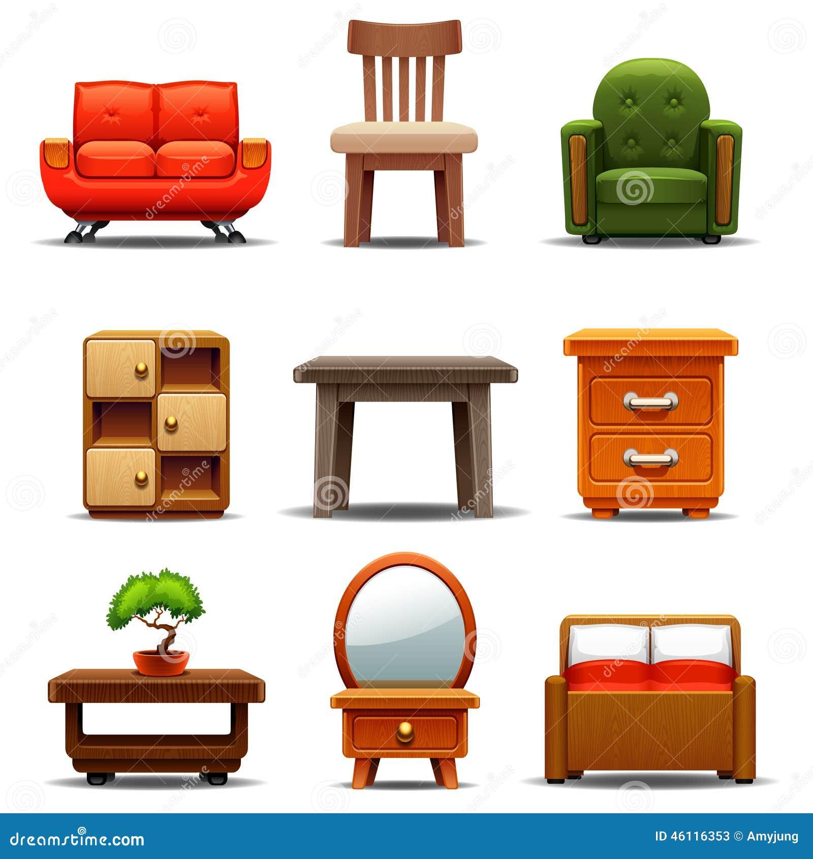 Modern Furniture Stock Vector. Illustration Of Heavily
