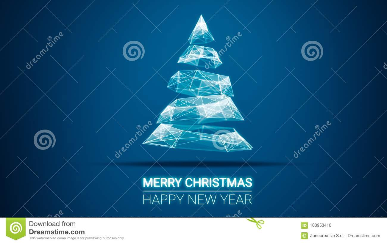 modern future christmas tree and merry christmas and happy new year greetings message on blue background