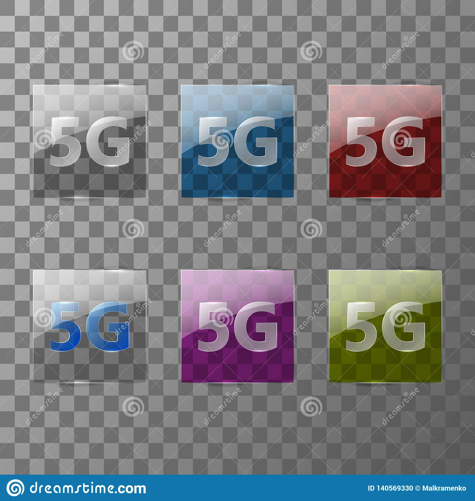 Modern 5G signal transmission technology is depicted on multi-colored transparent glass plates.