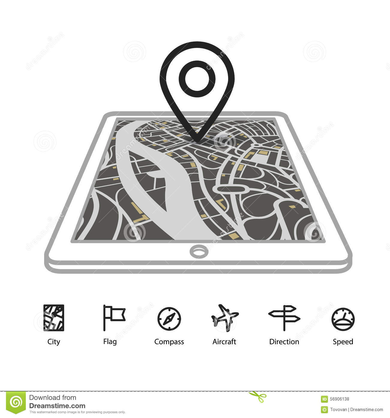 Modern Gadget With Abstract City Map Stock Vector Illustration Of