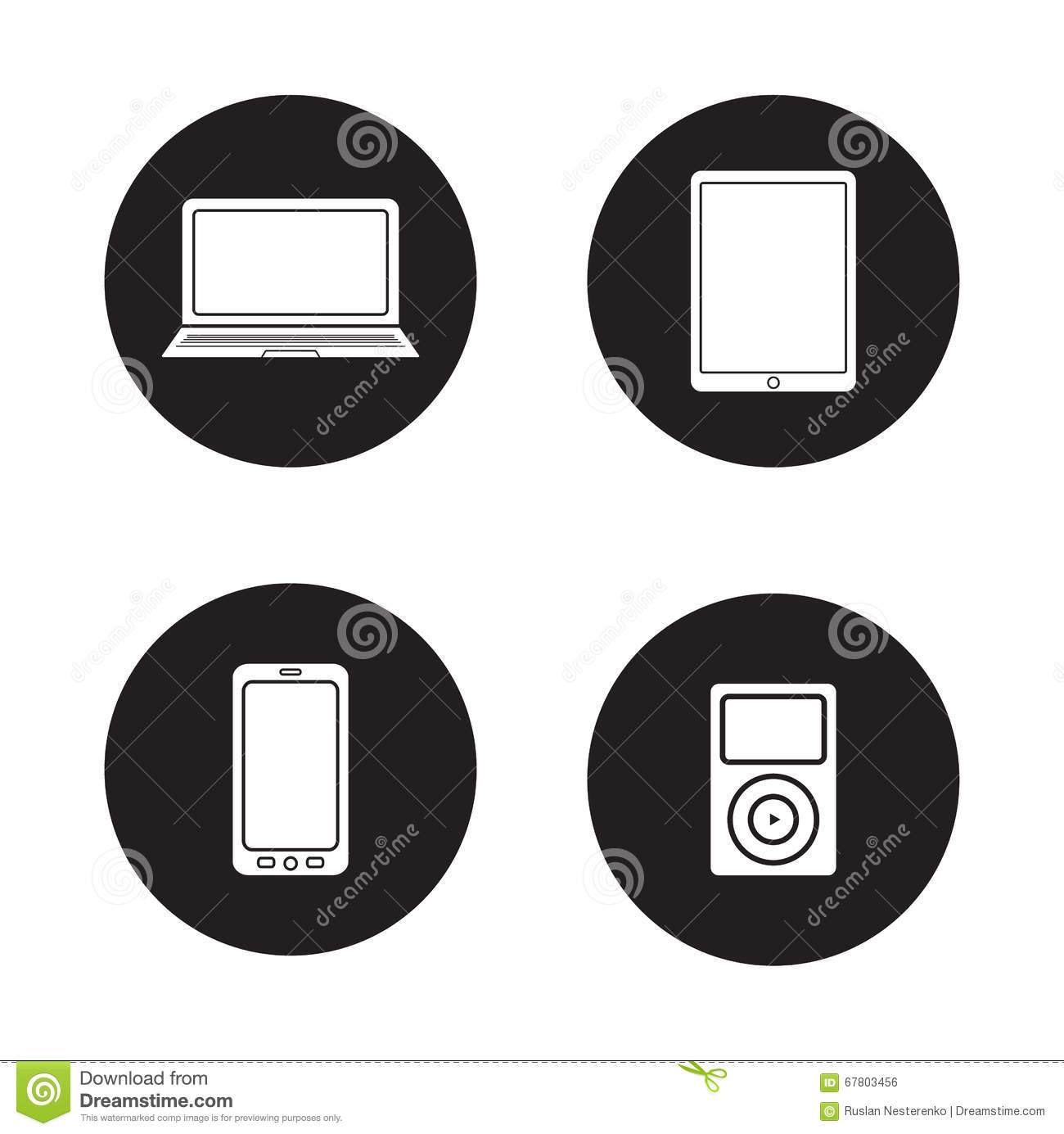 Modern Gadgets Black Icons Set Stock Vector Illustration Of