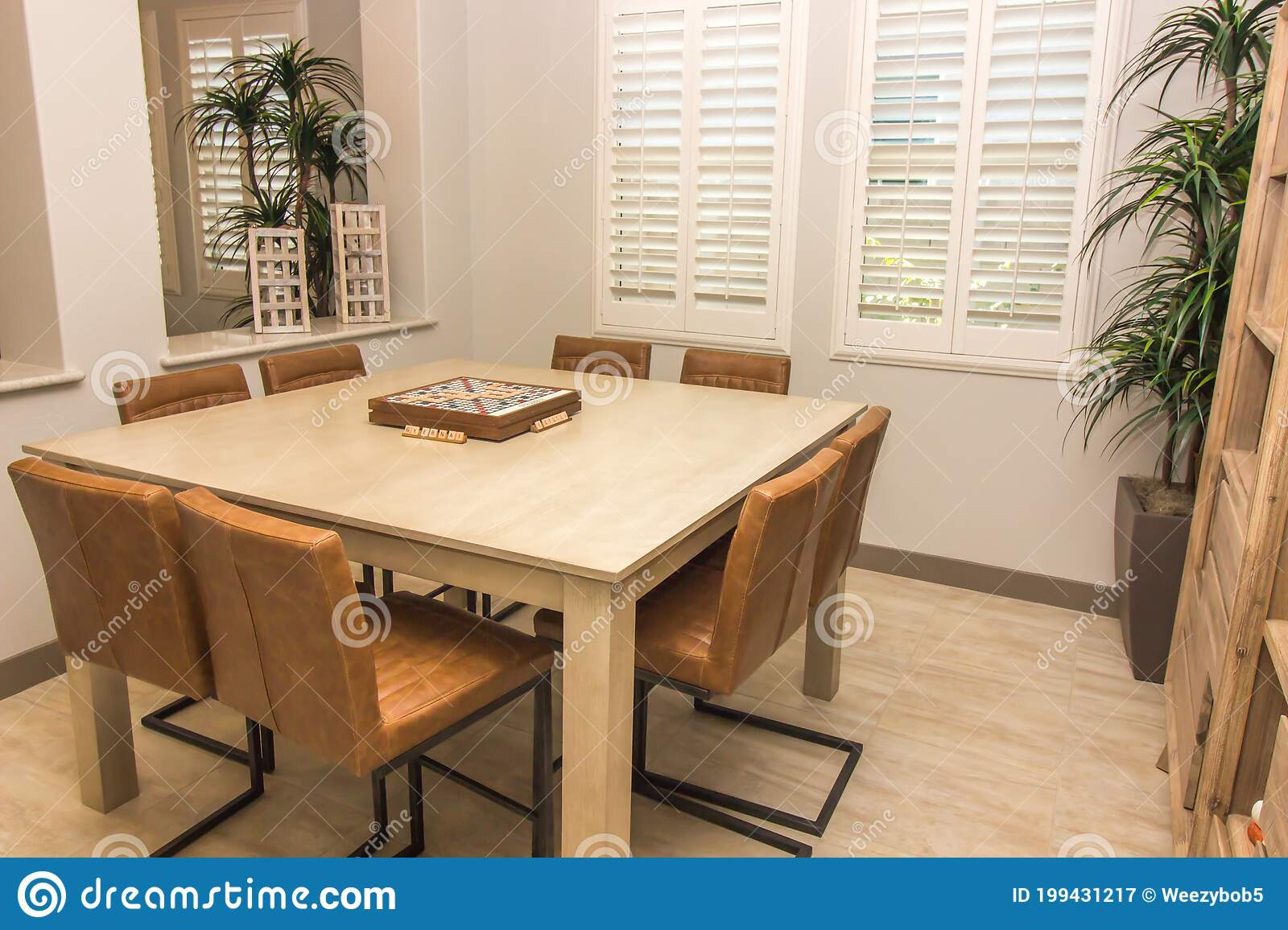 Modern Game Table With Eight Chairs Stock Image Image Of Inside Chairs 199431217