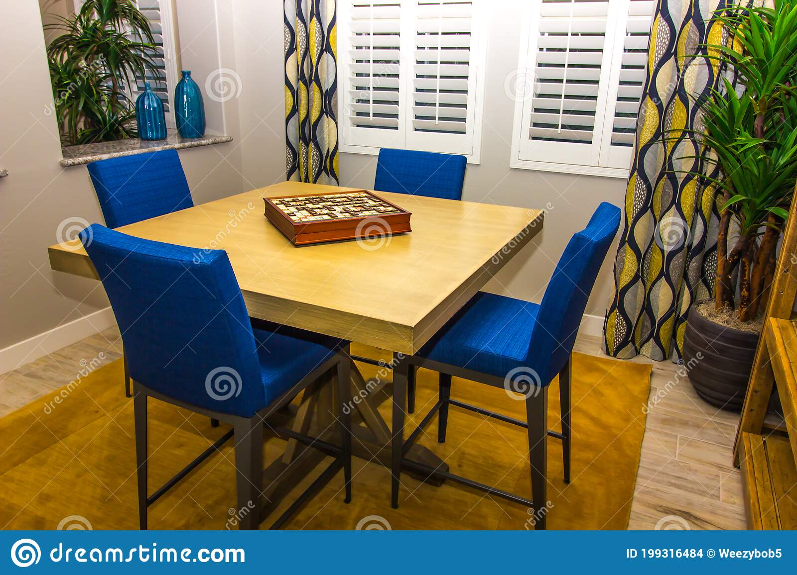 Modern Game Table With High Back Chairs Stock Photo Image Of Windows Blue 199316484