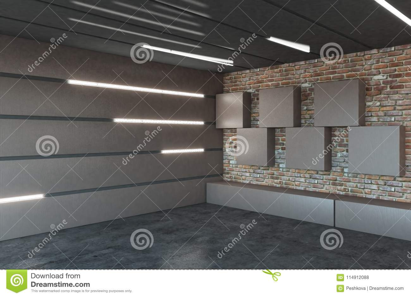 Modern Garage Interior Stock Illustration. Illustration Of