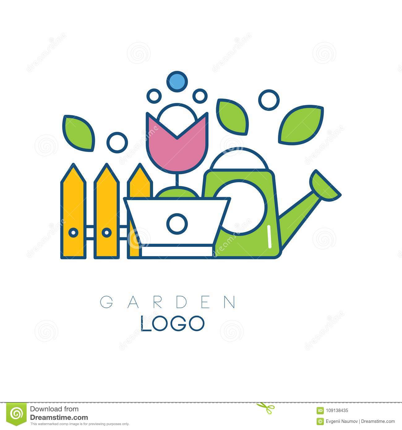 modern garden logo template with little fence flower in pot and