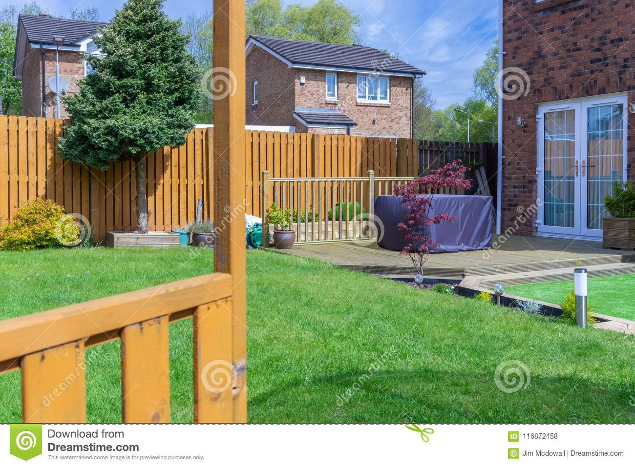 Modern Garden With A New Planted Lawn Stock Photo Image Of Border Borders 116872458